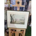 Framed vintage aquatint Snipe hunting near Uxbridge HAVELL Jr., Robert. Publisher: J Brooker 5