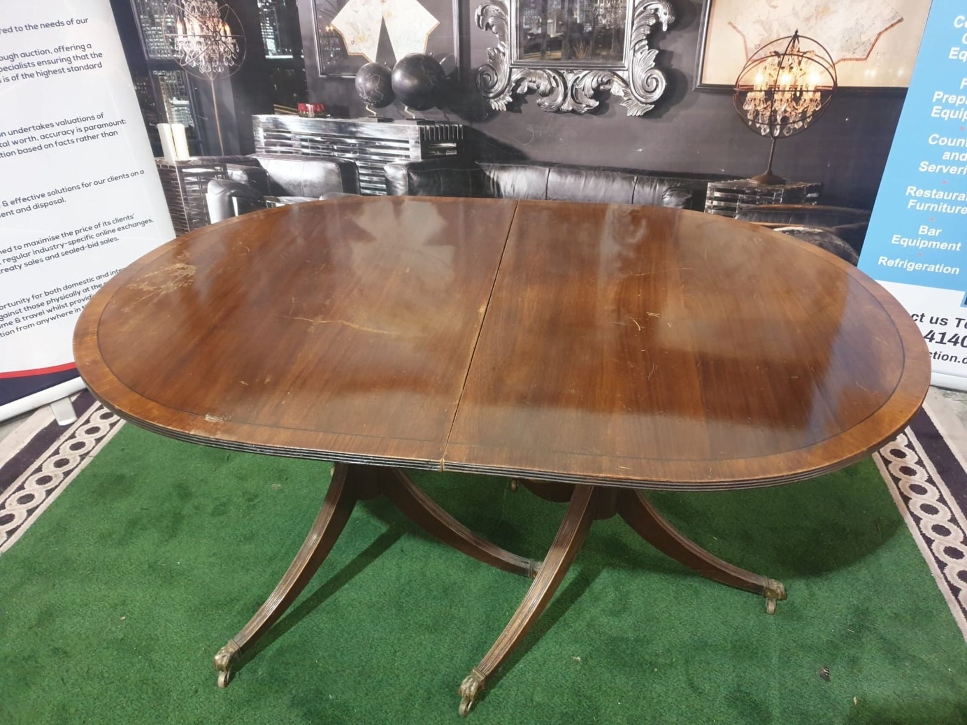 Dining Table and 4 x Chairs A Regency style mahogany and crossbanded D-end twin pedestal extending - Image 3 of 5