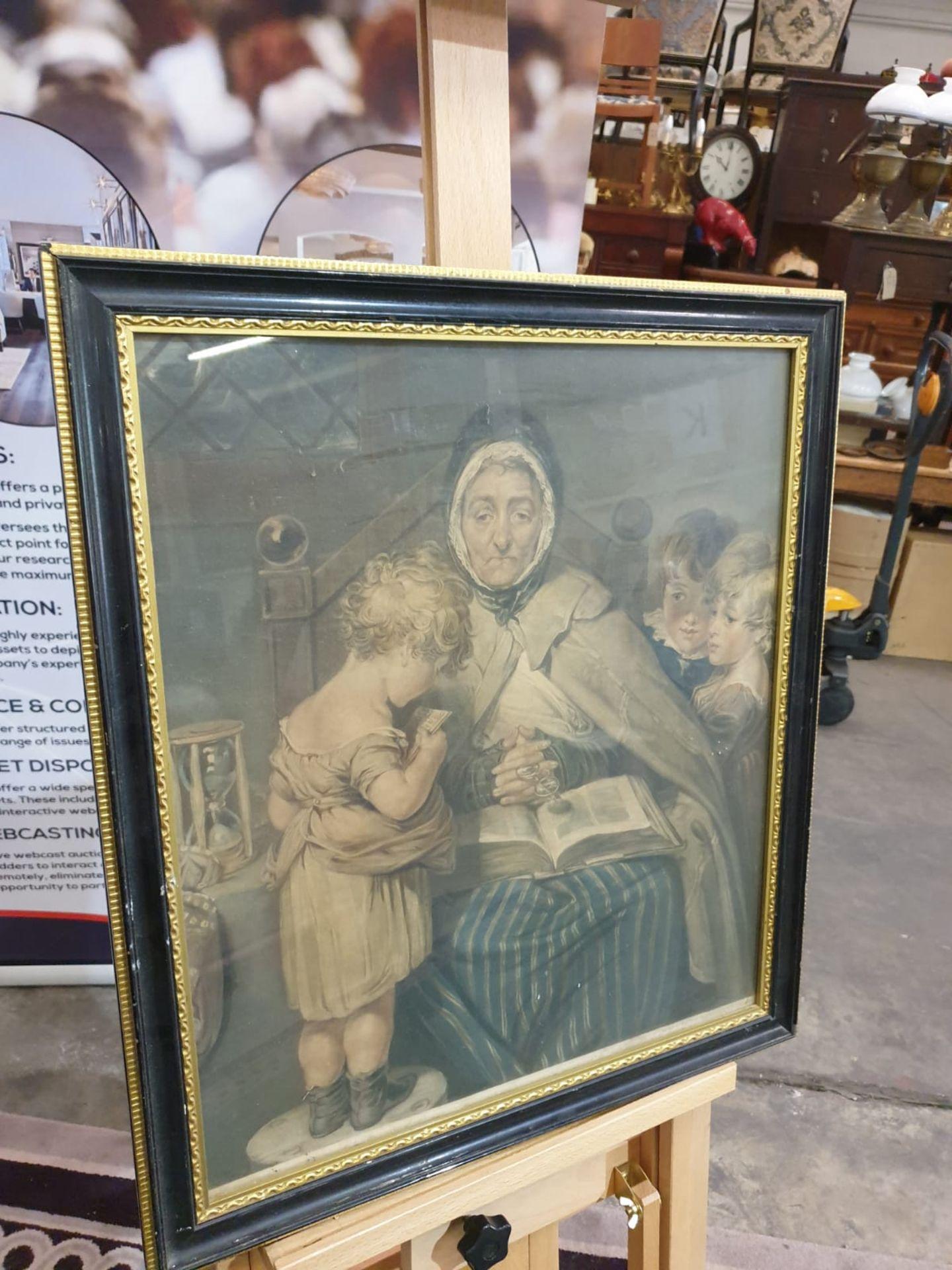 Framed vintage print Nanny with children. Black & Gold frame 52 x 59cm - Image 2 of 3
