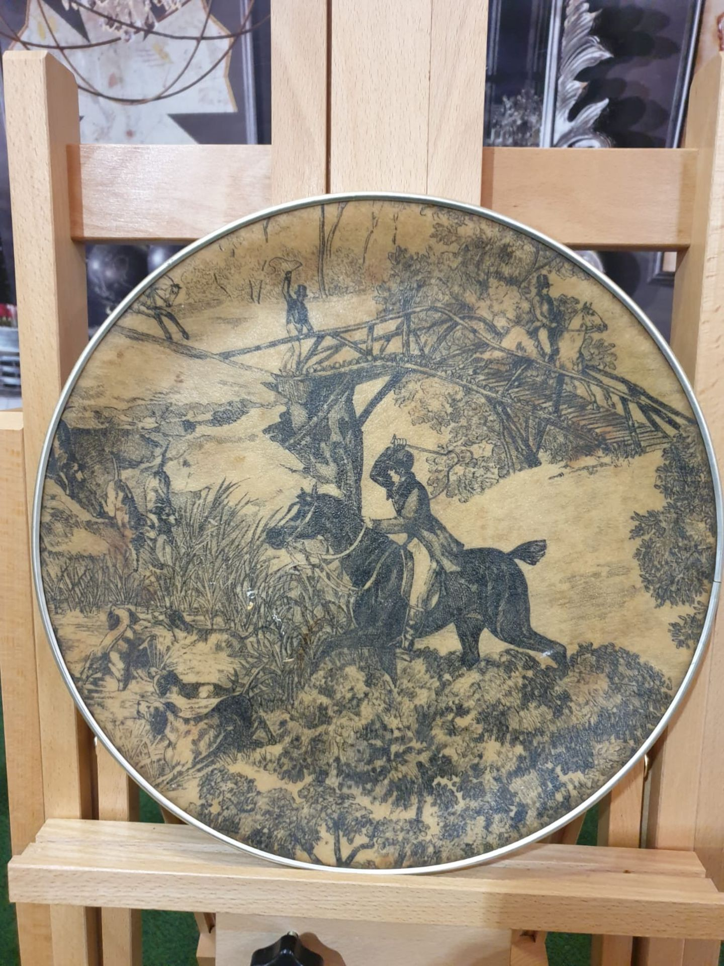 A Vintage Round fibreglass plate painted with hunting scene 35cm