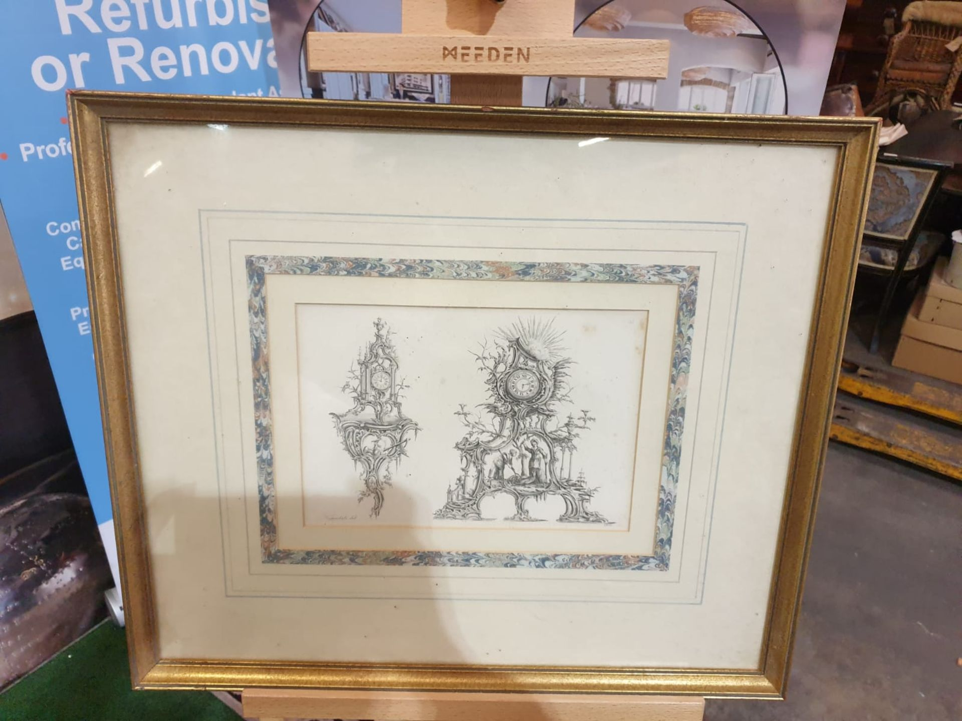 Framed Print Clock Cases, in Chippendale Drawings 54 x 46cm