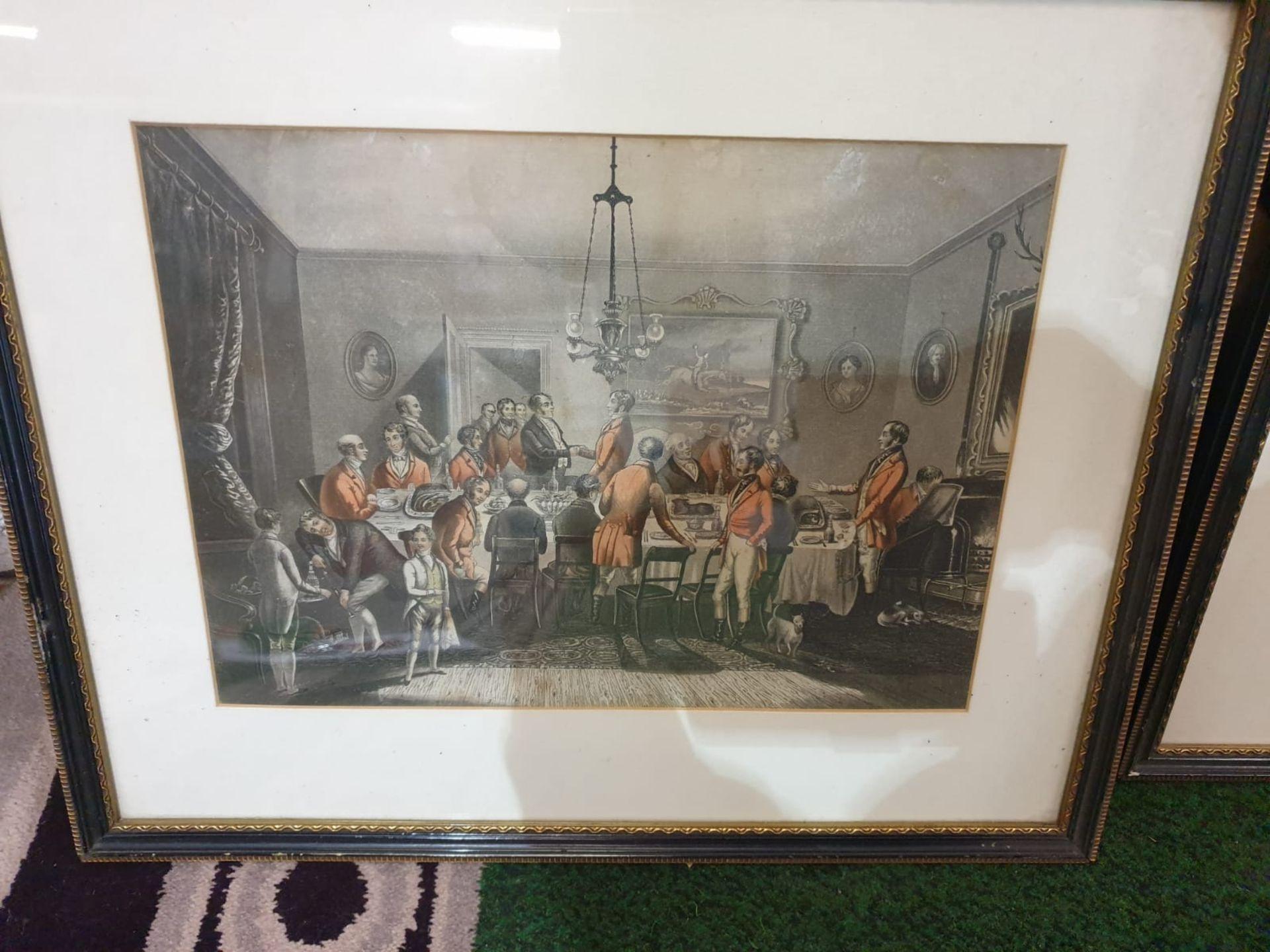 Set of 4 hunting aquatint prints in Black frame-50 x 42cm - Image 2 of 6