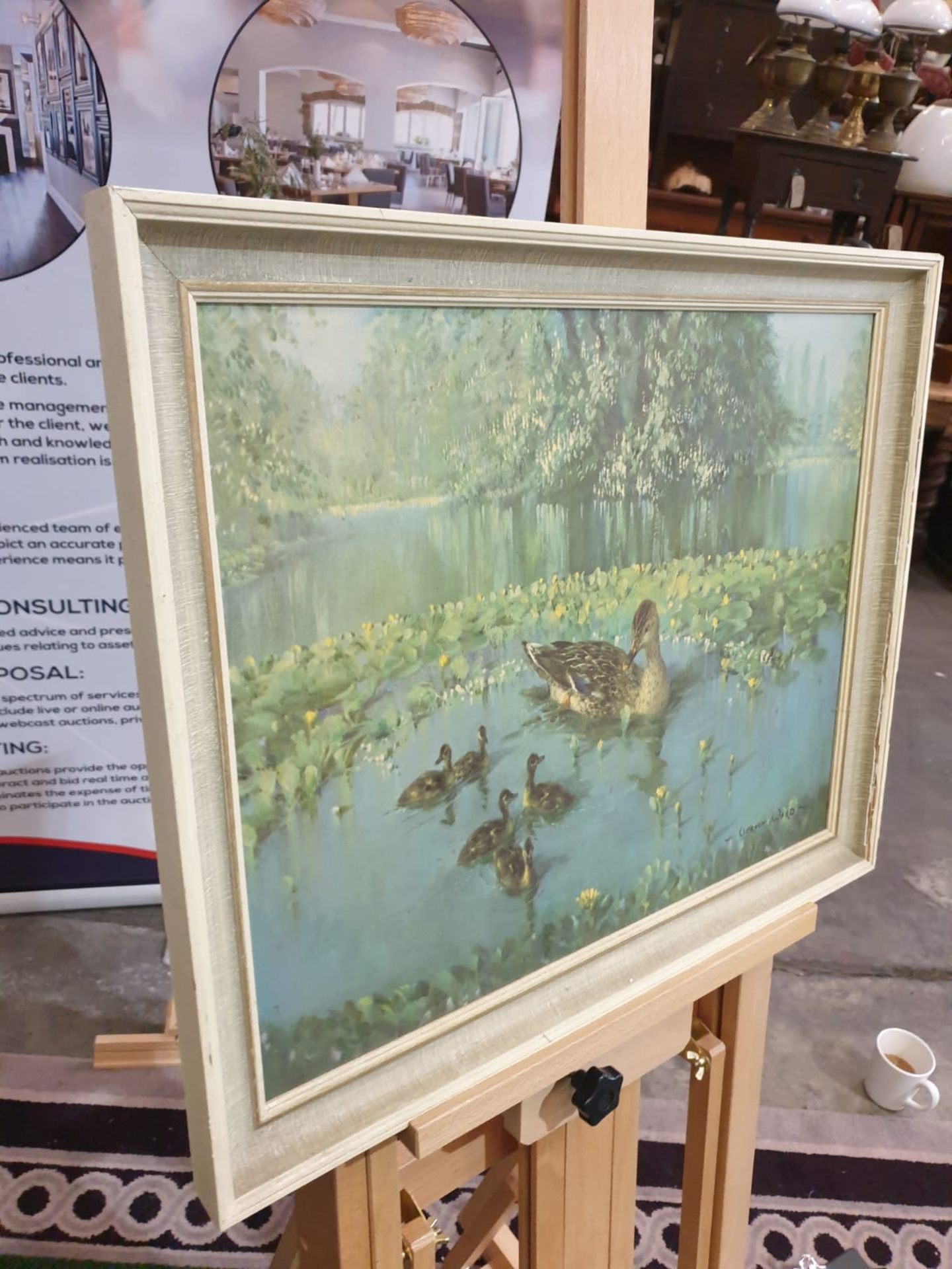 Duck and ducklings in the lily pond. Coloured reproduction' Mid 20th century Height 49 cm; - Image 2 of 3