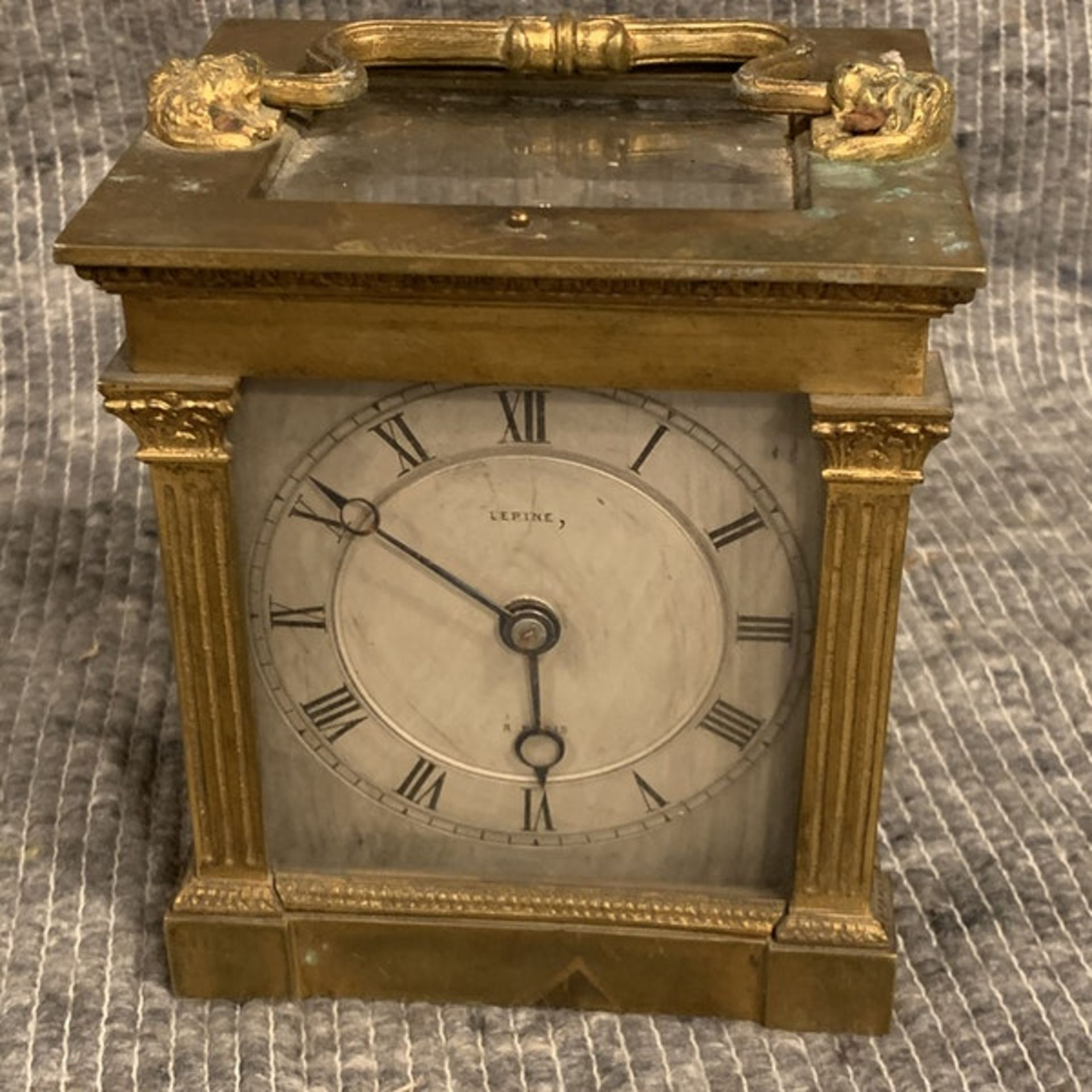 Lepine Mantle Clock Dore bronze and glass, two train (missing the strike train), single spring - Image 4 of 4