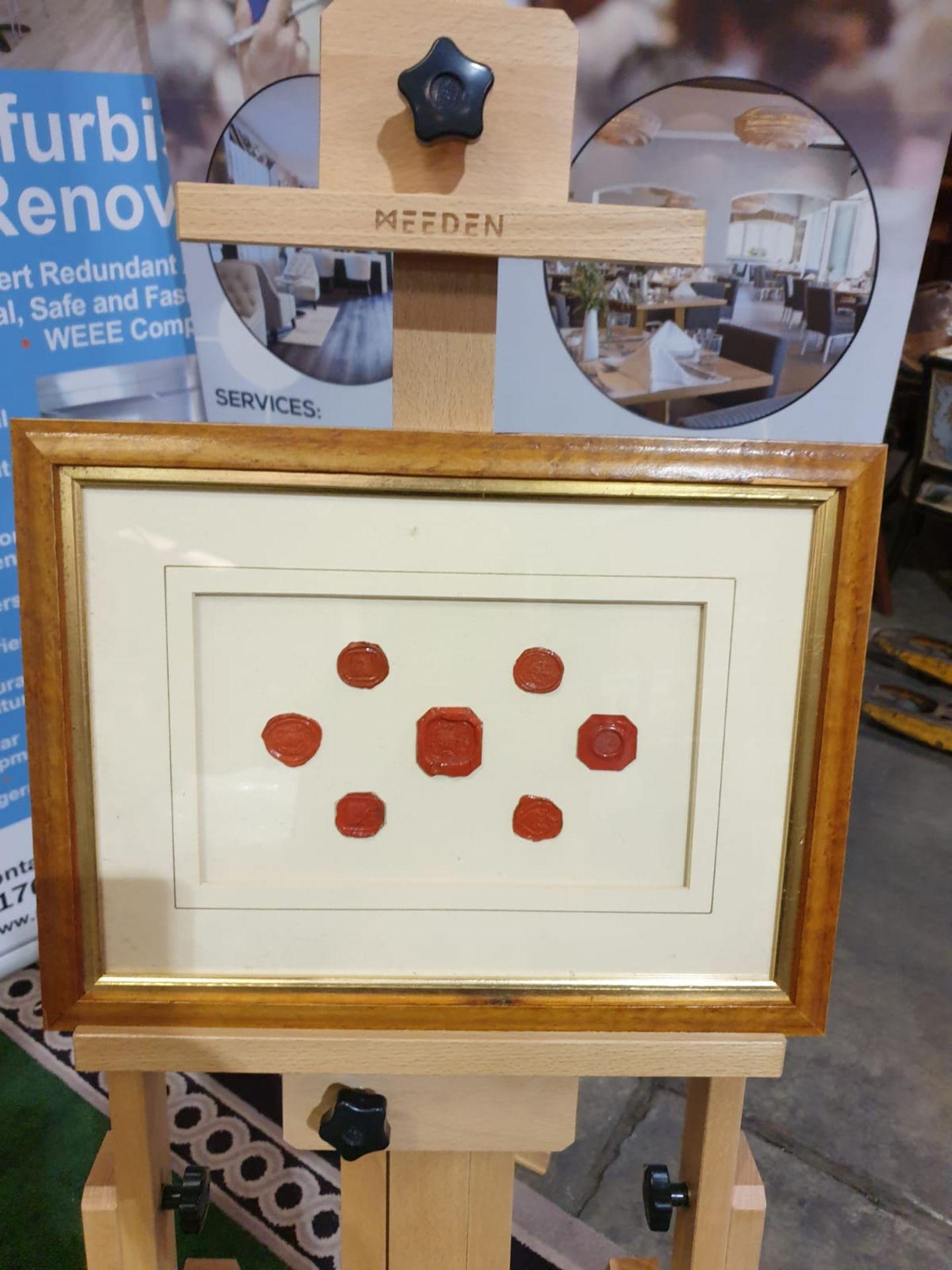 Framed artwork of wax Seals in Wood frame 42 x 32cm - Image 3 of 4