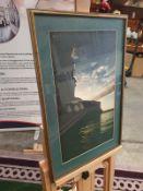 A framed modern seascape Rocks and sea landscape at Sunrise. Green border Gold frame 43 x 59cm (