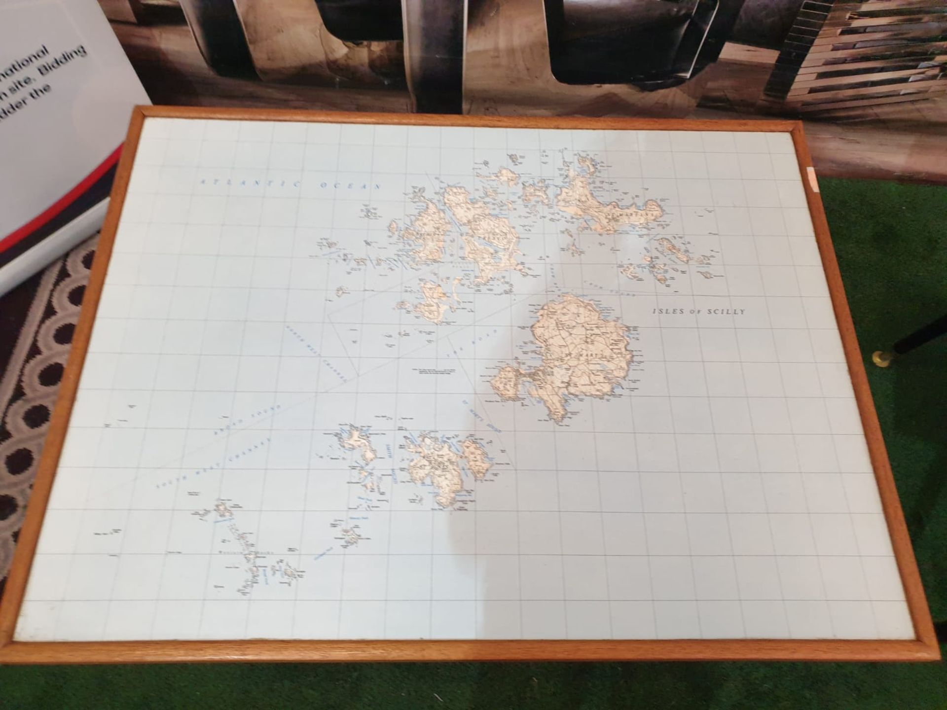 3 x Coffee tables the tops of old school maps of Scilly Isles 82 x 62 x 50cm - Image 3 of 3