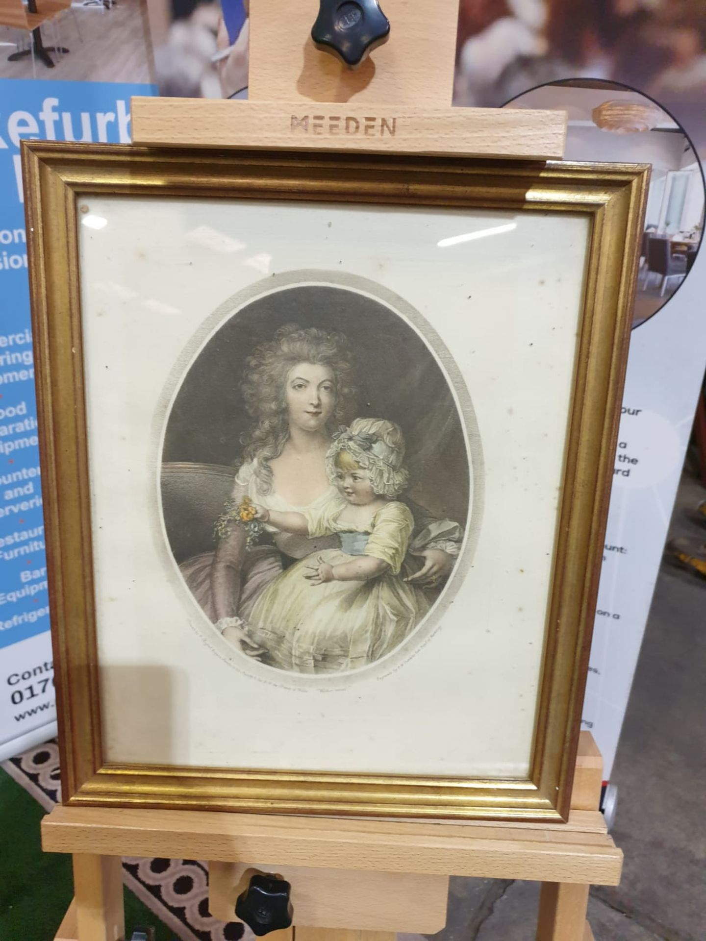 Framed coloured lithograph portrati woman with child Pupil of Bartologgle. Bronze frame 34 x 42cm - Image 3 of 3