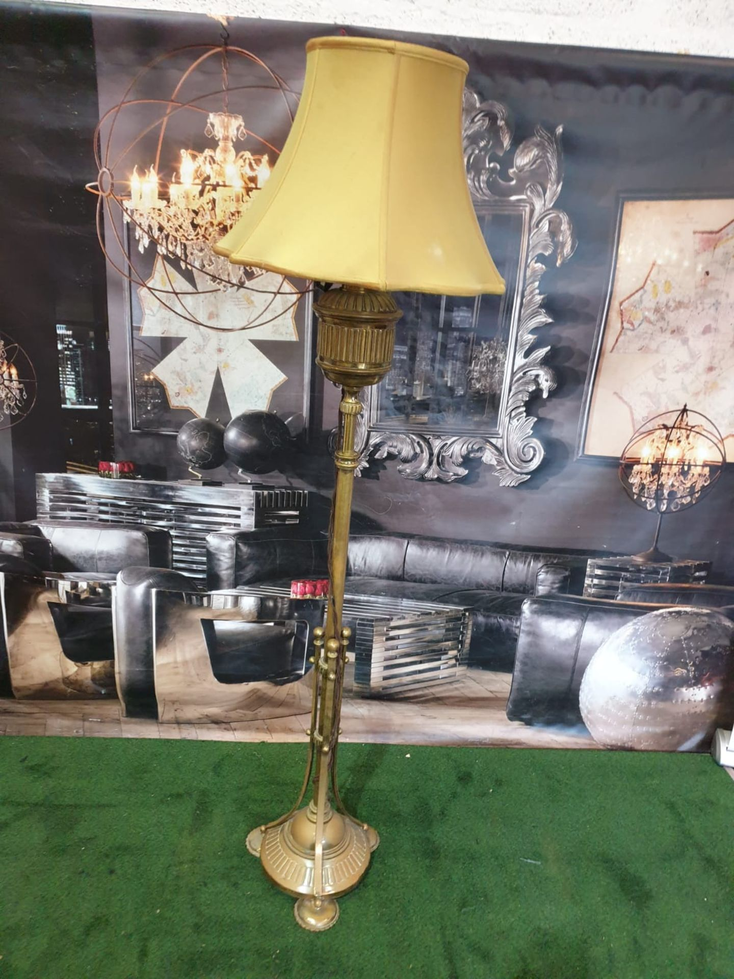 Edwardian Adam Style Brass Standard Lamp with gold coloured shade 165cm high - Image 3 of 4