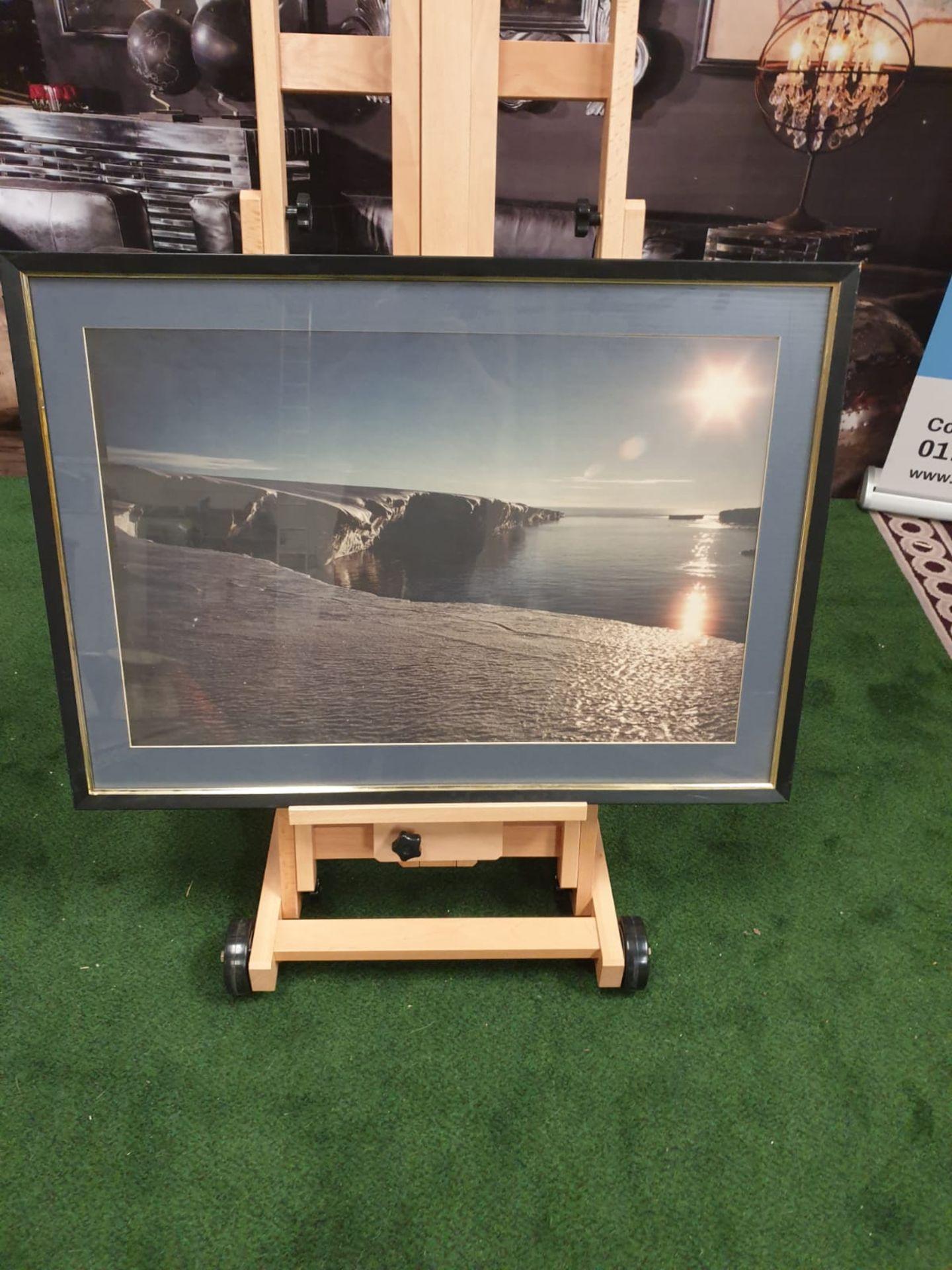 A large framed Seascape - Glaciers modern black frame 90 x 65