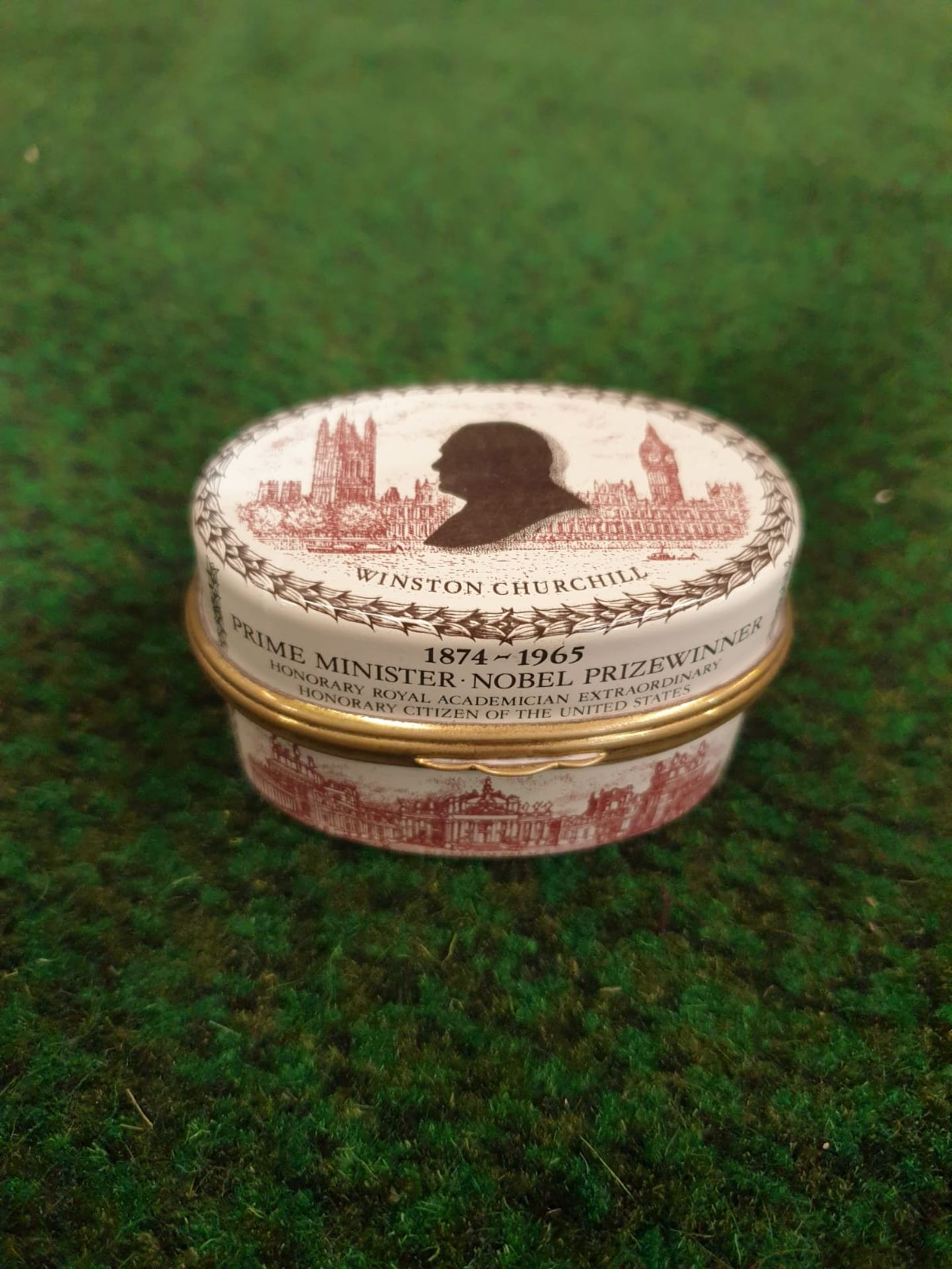 Halcyon Days Enamel Box Of oval form printed in sepia and black to commemorate Sir Winston