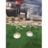 A pair of silver plated hallmarked 3 candle cup candelabras 13 x 30 x 28cm