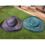 2 x Edith Poole from South Molton Street London Vintage Ladies Hats 1 x Navy Blue straw hat and 1