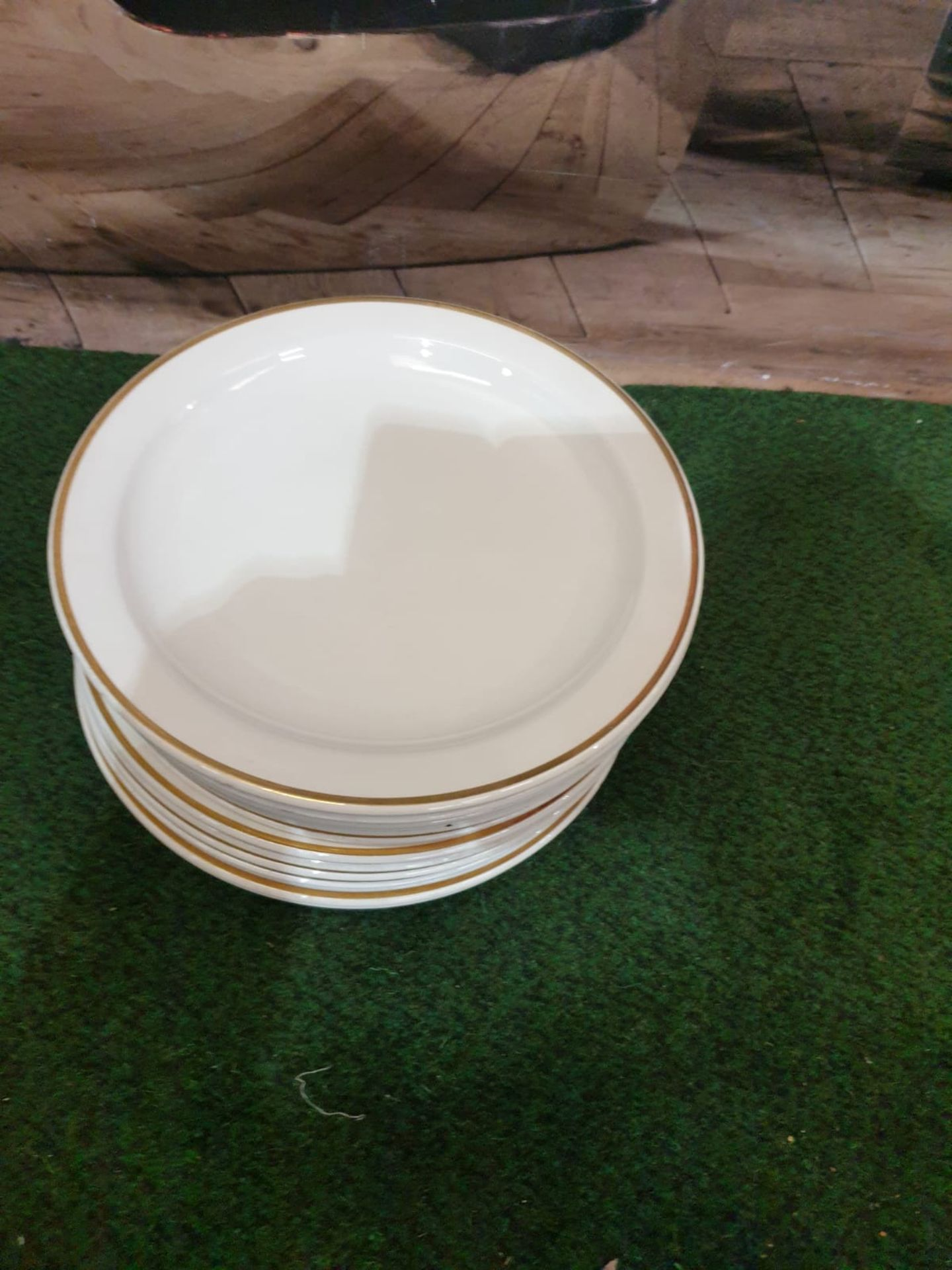 13 x Crown Ducal England Dinner plates White Gold rim 1971