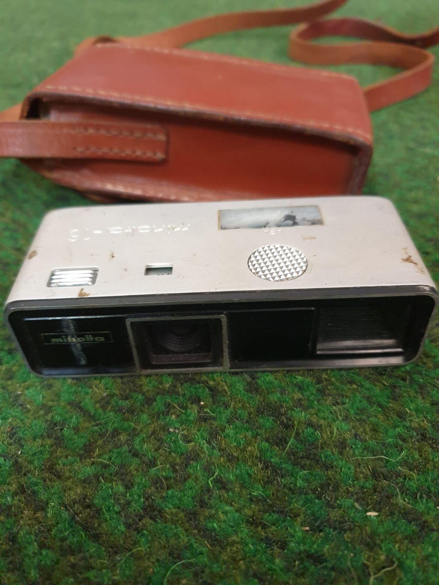 Minolta 16 Model P Rokkor 3.5/25 Subminiature Film Camera with case 1960's 103×27×42mm