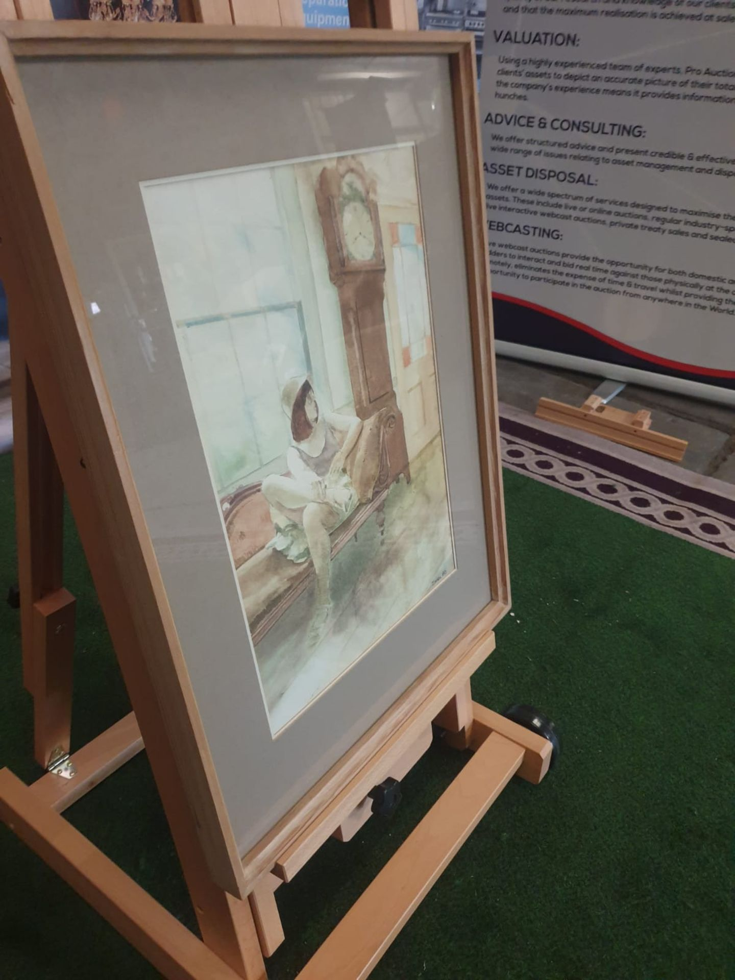 Framed watercolour Woman on chair by Grandfather clock singed and dated by Michael Smee '80 - Image 4 of 5