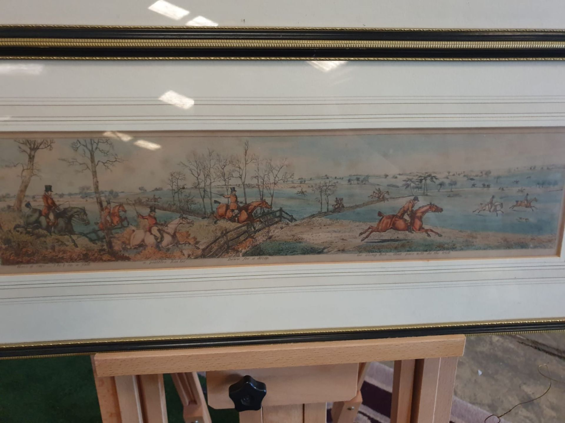 A set of 3 framed coloured panorma Hunters prints titled Lets take the road, Excersive polite, A - Image 6 of 6