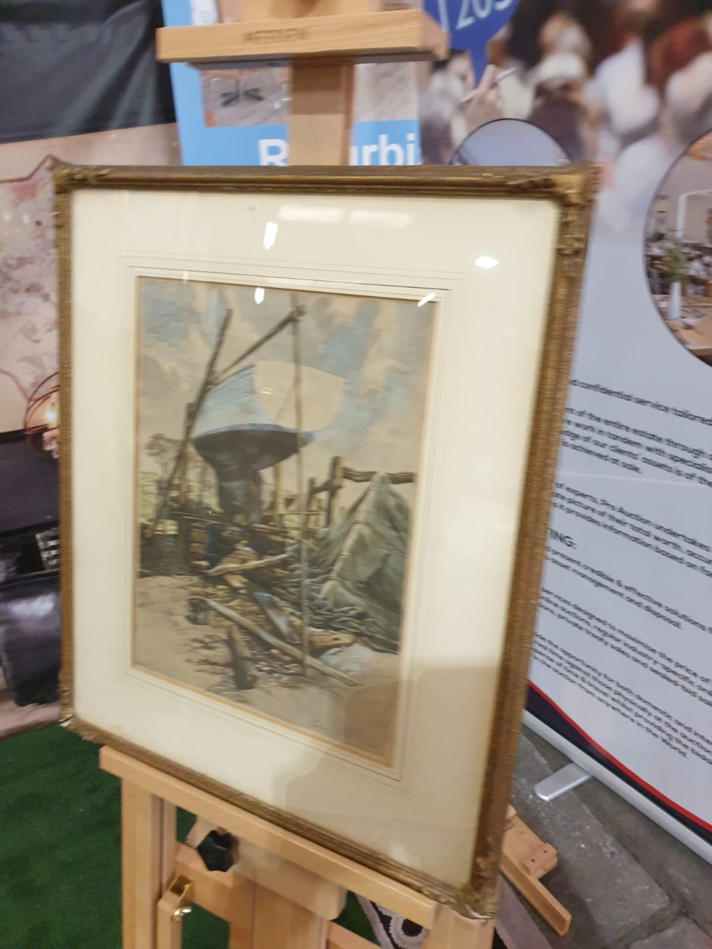 Julian Leathart 20th Century mixed media painting of boat in boatyard c. Circa 1950 This Drawing
