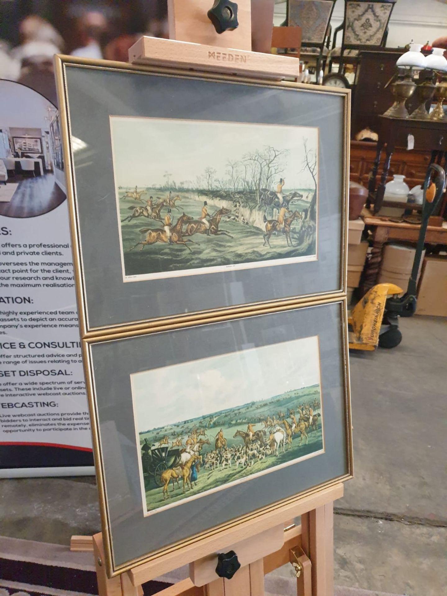 """A set of 2 framed coloured prints THE MEET"""" 1835 Hunting H. Alken Delt. F.C Lewis Sculpt. 44 x - Image 2 of 3"""