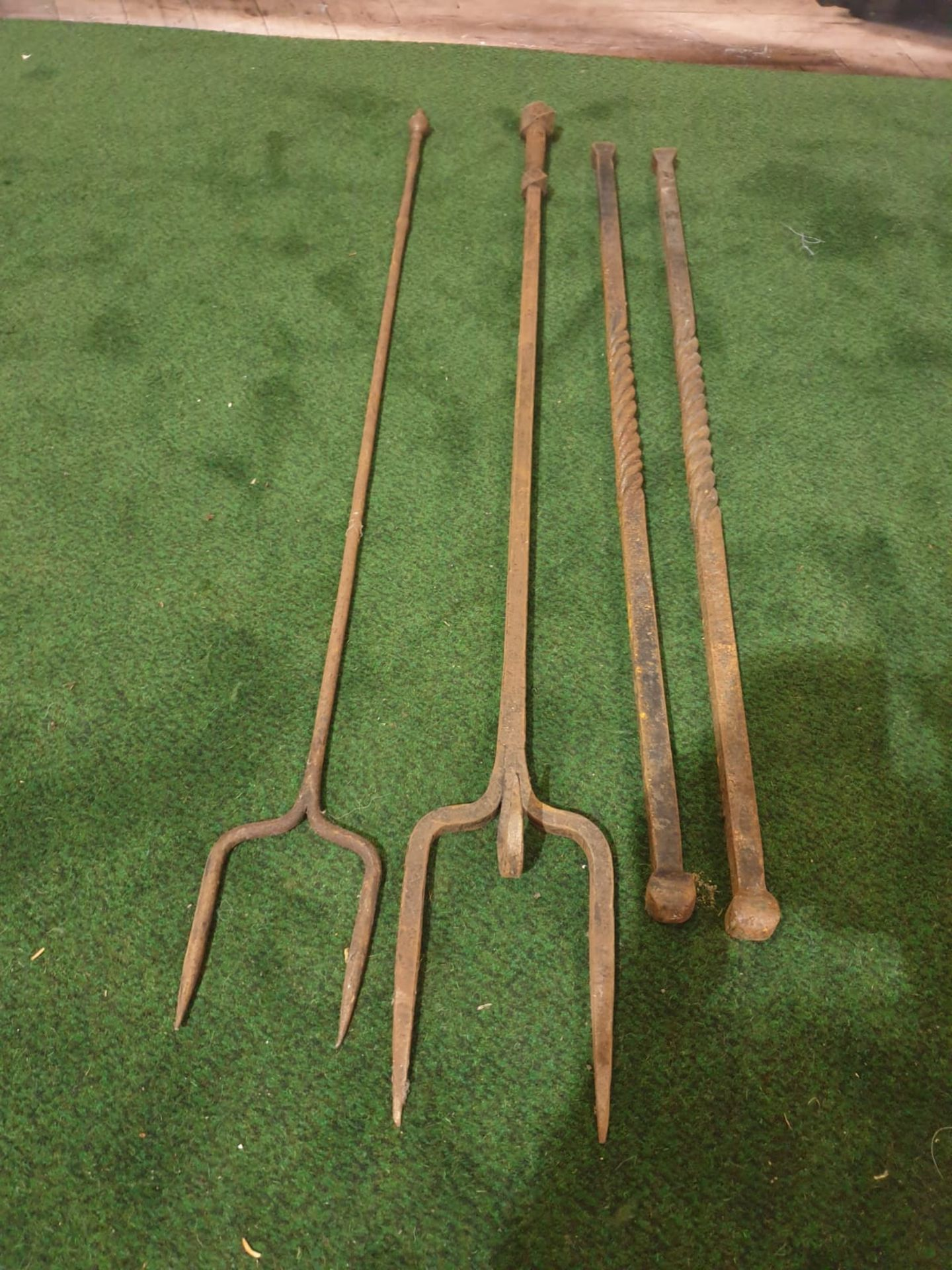 2 x wrought iron Pokers and 2 x wrought iron toasting forks