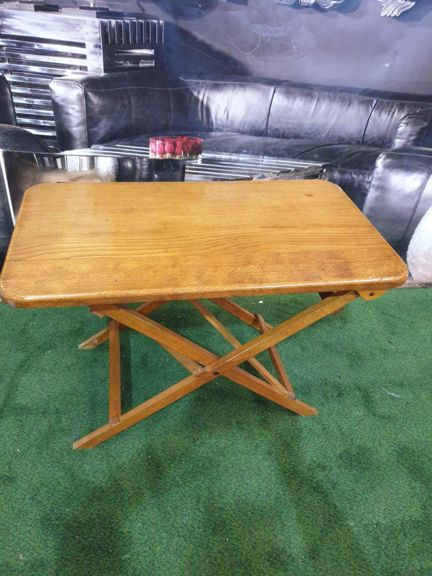 A polished teak folding table 71 x 40 x 4cm - Image 2 of 5