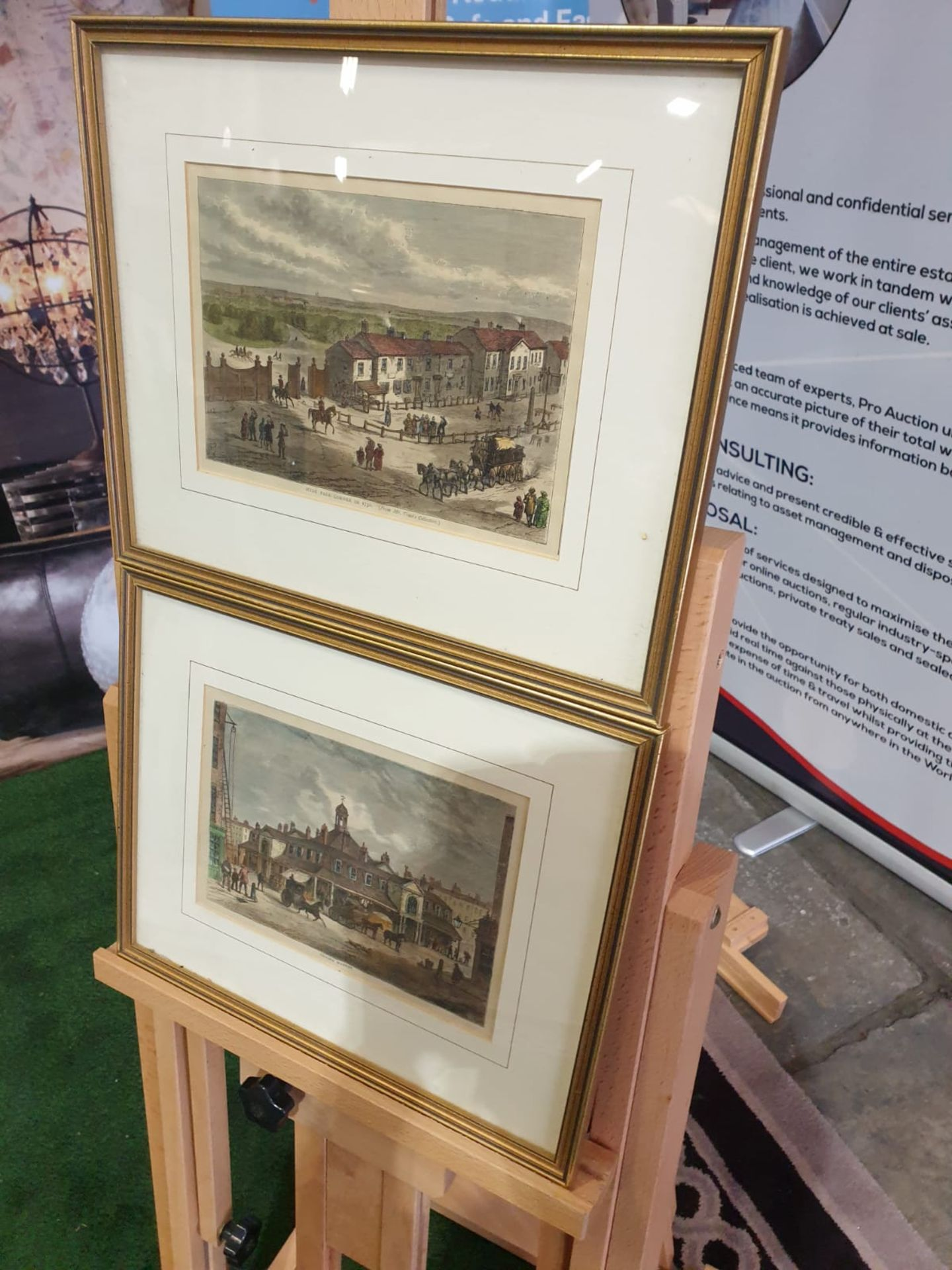 A set of 2 framed coloured lithographs APSLEY HOUSE AND PARK LANE. HYDE PARK CORNER IN 1750. - Image 2 of 5