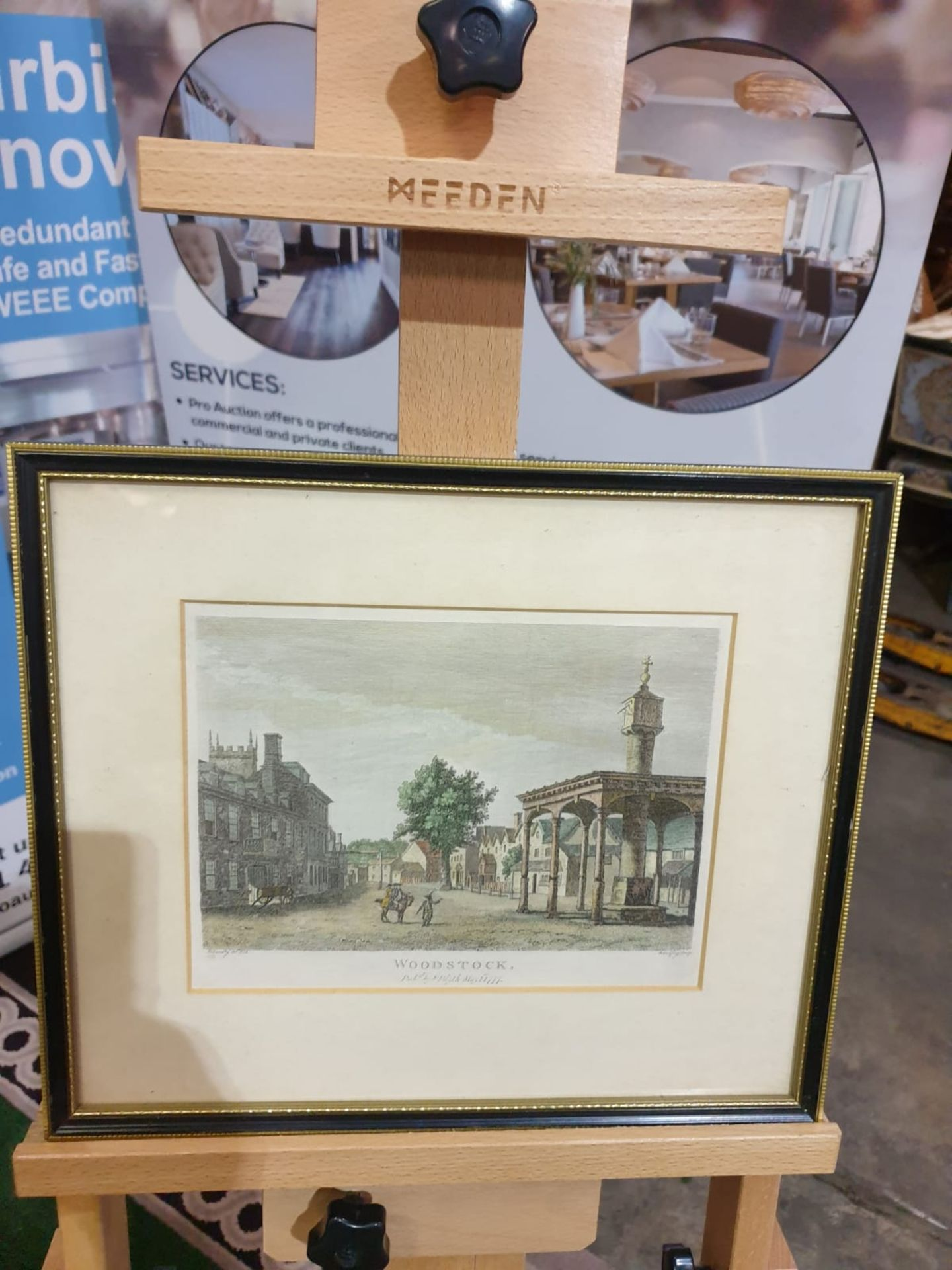 Framed Paul Sandby - Woodstock, hand-coloured etching by Godfrey, published by F. Blyth 1777 36 x - Image 3 of 3