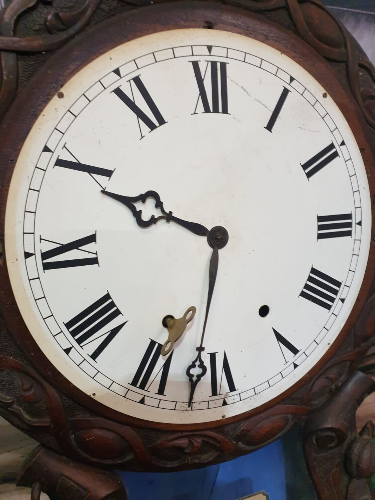 Late Victorian era, Hand carved black walnut, two train, dual spring powered, eight day, time and - Image 3 of 3