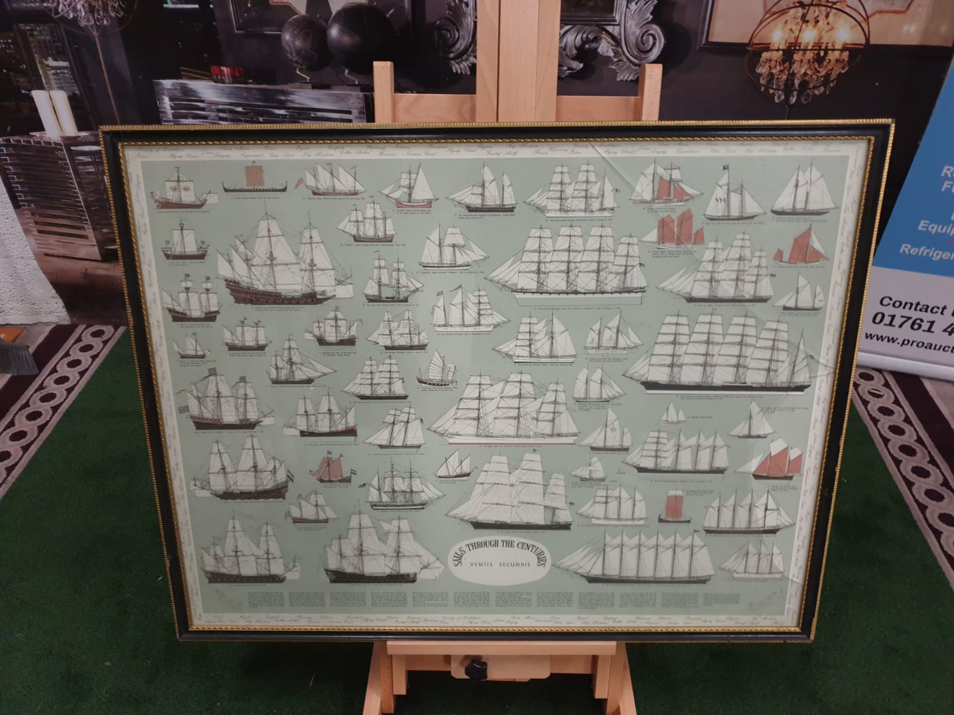 Ventis Secundis' or Sails Through The Centuries, Roman to 1926, framed colour print This spectacular