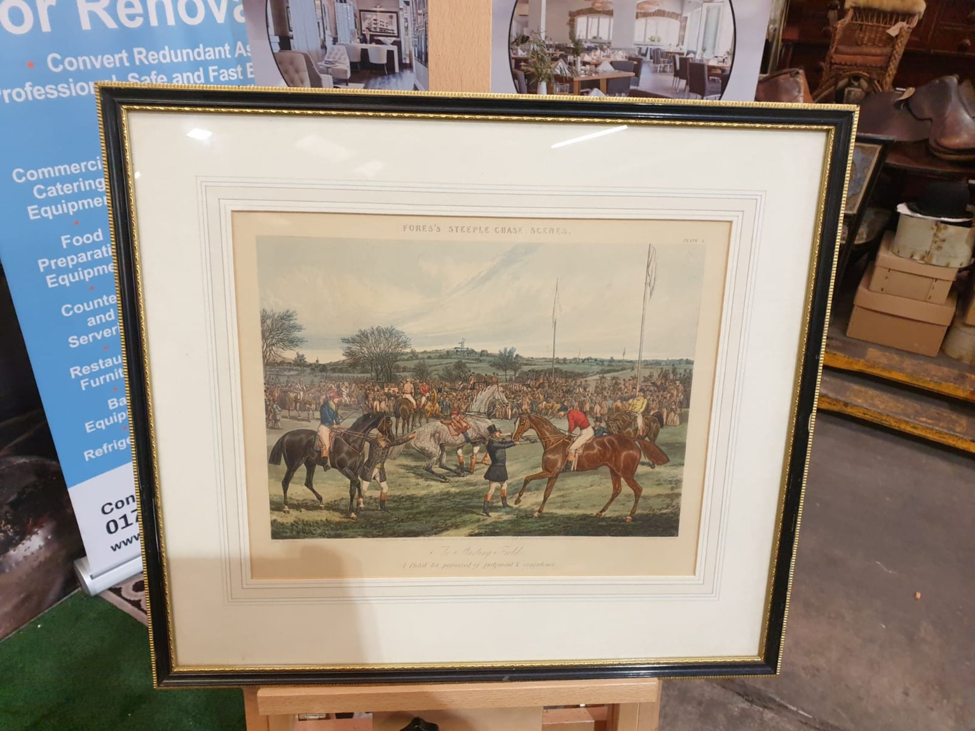 """Framed Hand coloured engravings from a series called """"Fores's Hunting Casualties"""".Drawn by H."""
