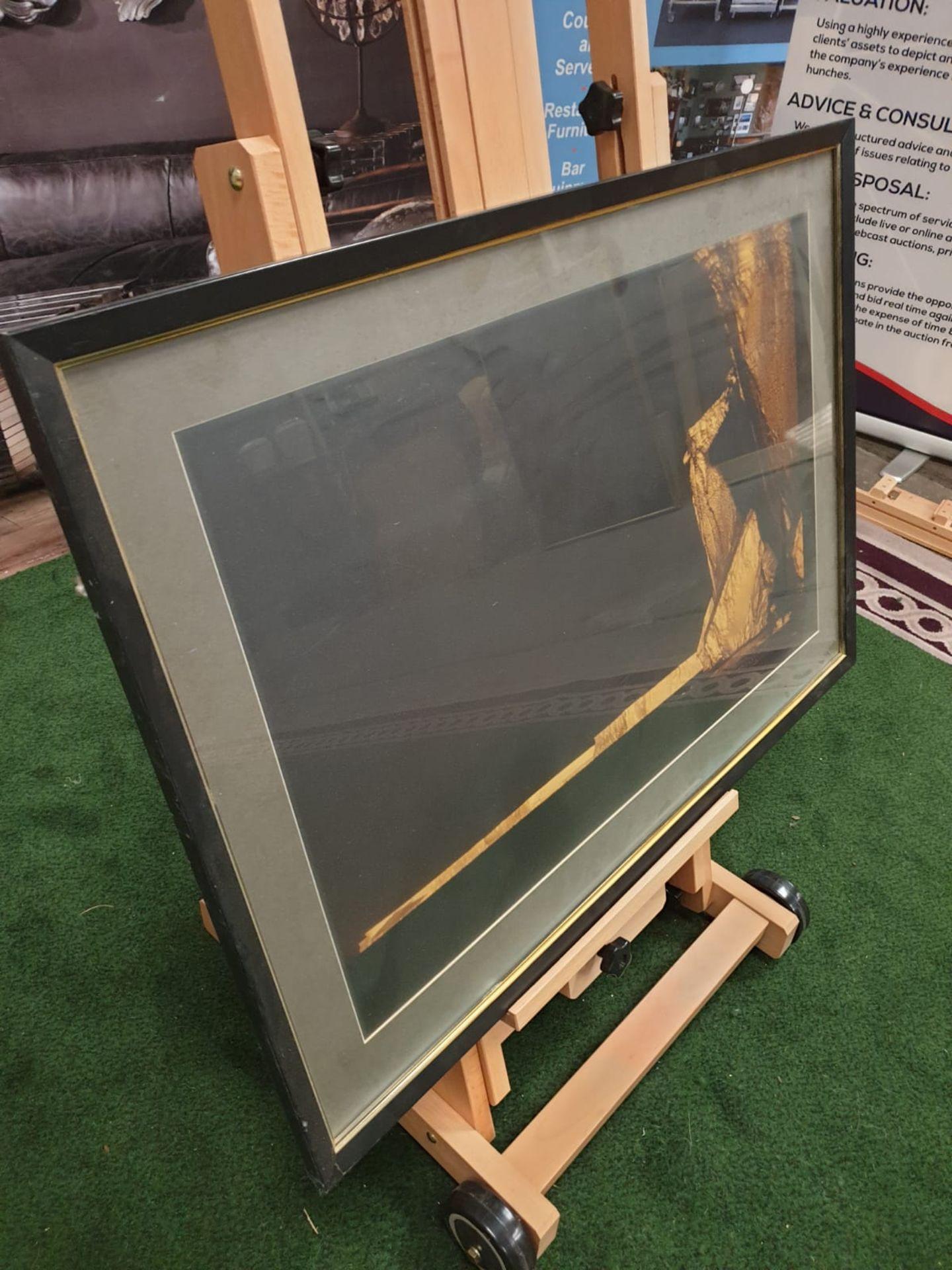 A large framed Seascape - Glaciers modern black frame 90 x 65cm - Image 3 of 3