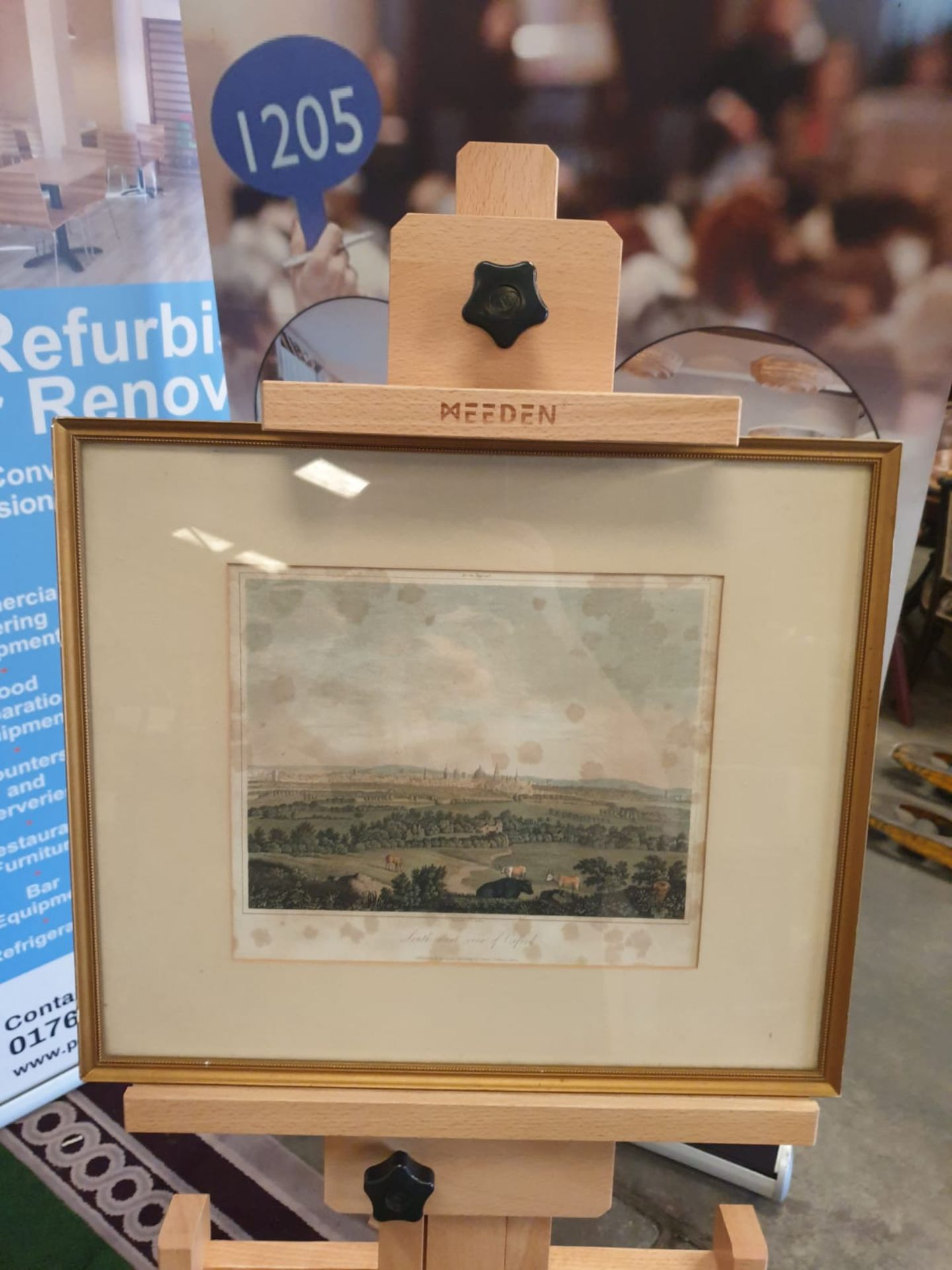 Framed print A south west view of Oxford with cattle 42 x 36cm