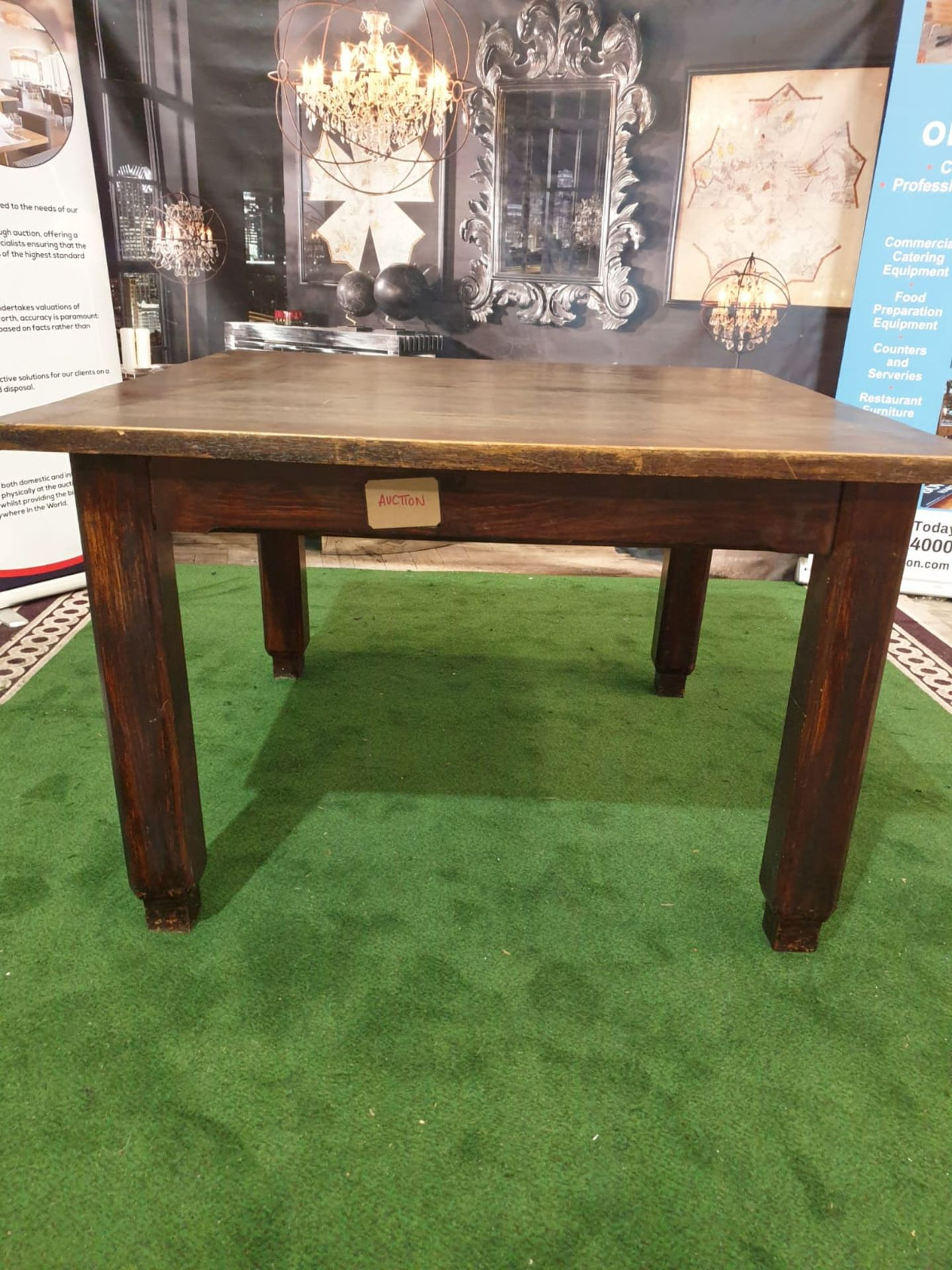 An English stained oak dining table. The square top on square chamfered legs with tapered feet. c. - Image 3 of 4