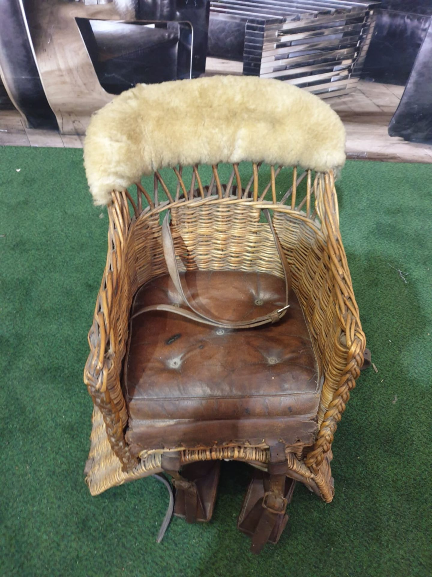 A wicker childs horse saddle formed as an armchair with straps and stirrups. c. Circa 1910 Height 60 - Image 3 of 7