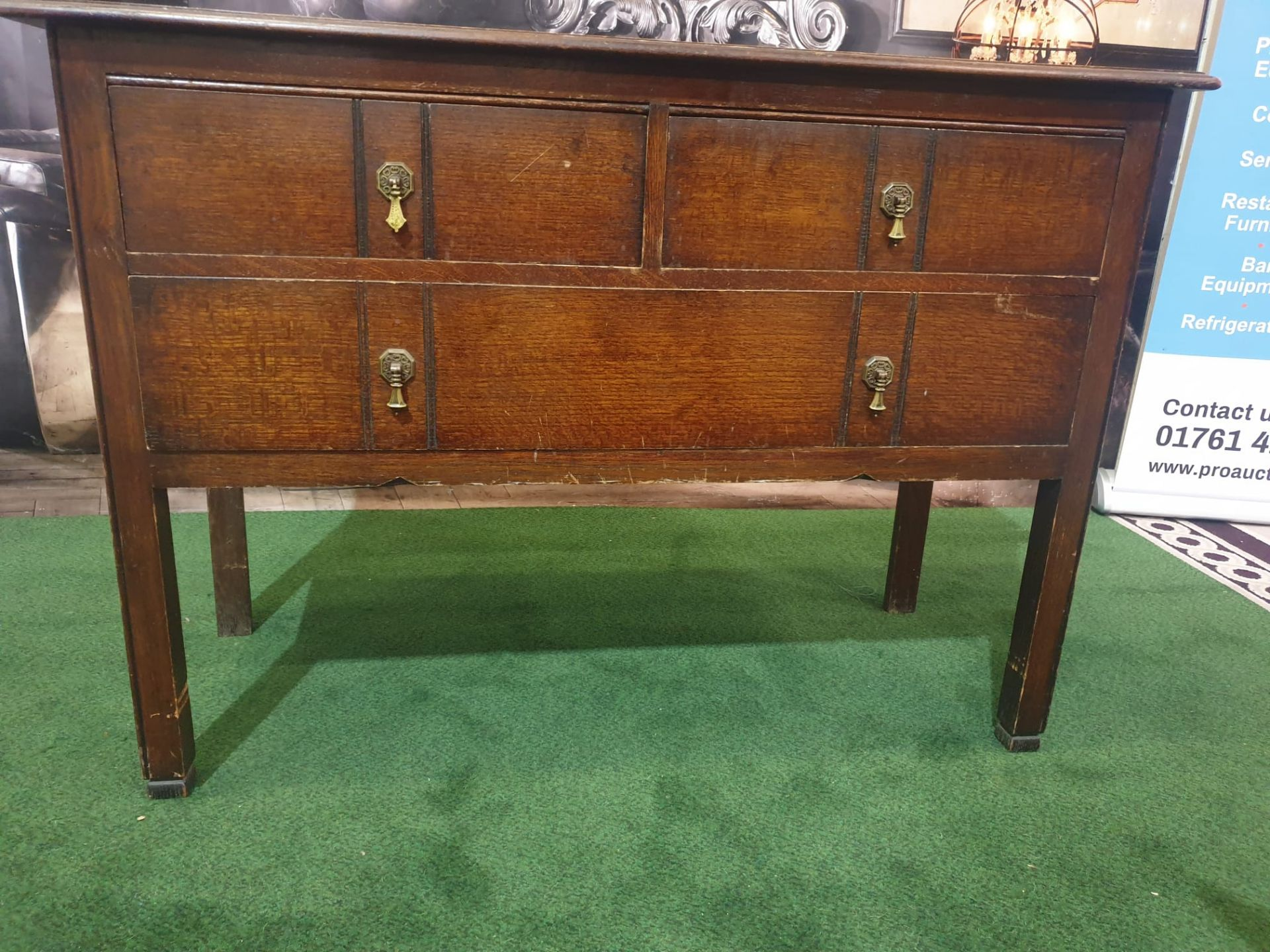 George III style Mahogany Chest of Drawers 2 small drawers over full size single drawer 107w x 47D x - Image 4 of 5