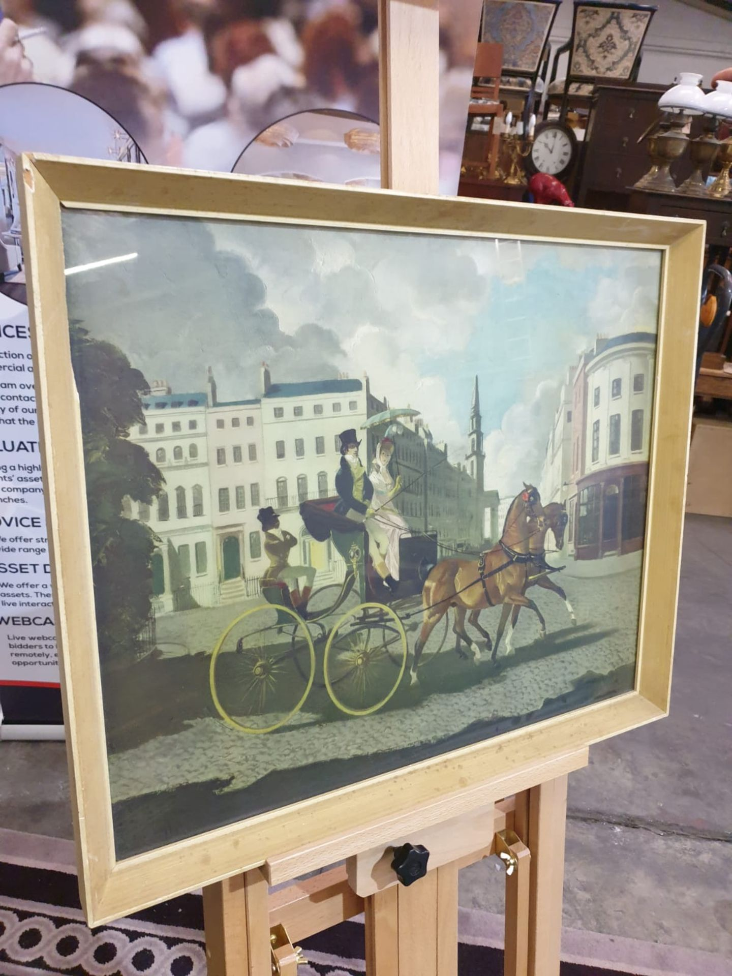 Framed coloured print In Regency Times, (Regency Figures, Horse and Carriage, in a City Street)After - Image 4 of 4