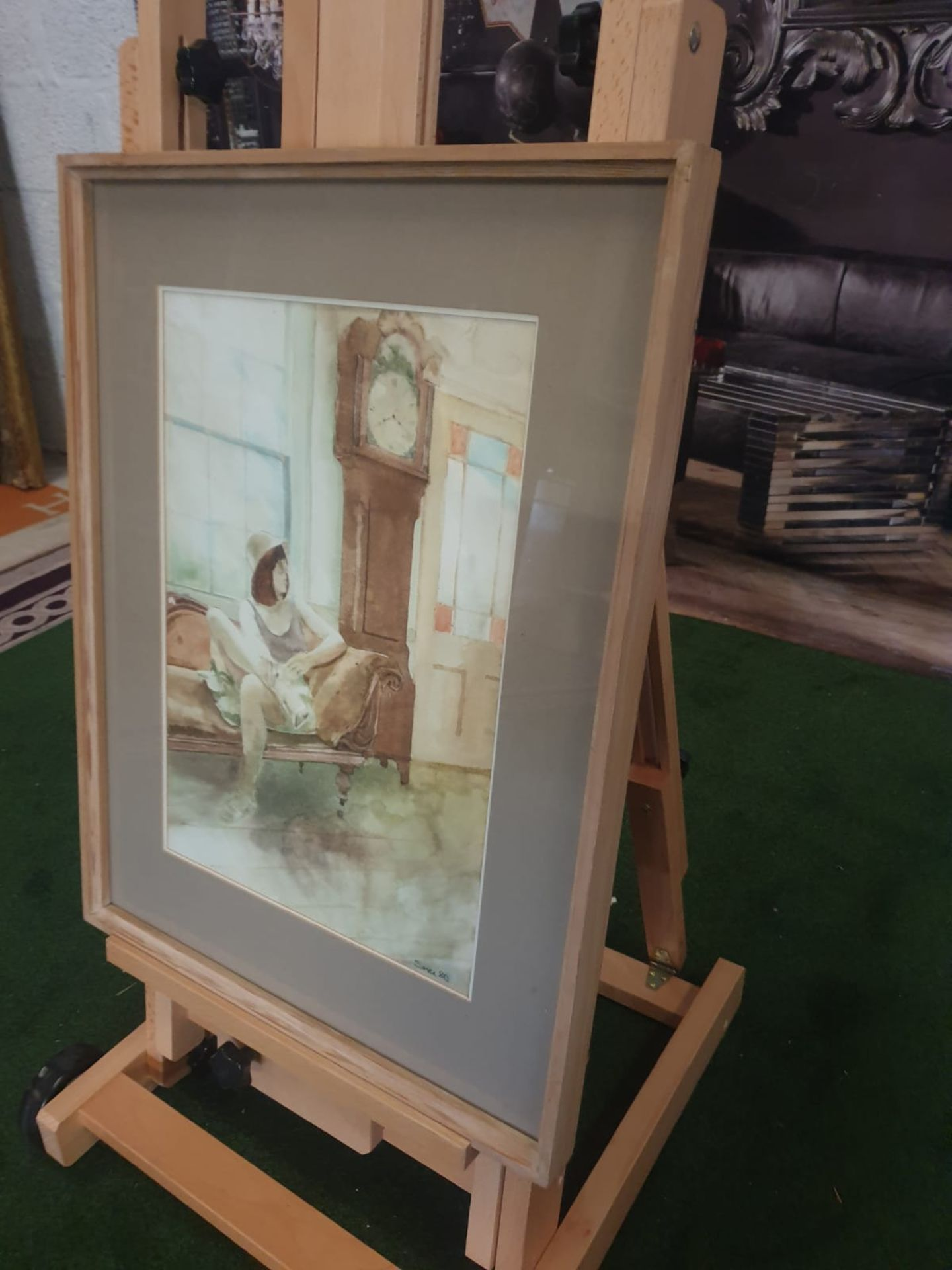 Framed watercolour Woman on chair by Grandfather clock singed and dated by Michael Smee '80 - Image 3 of 5