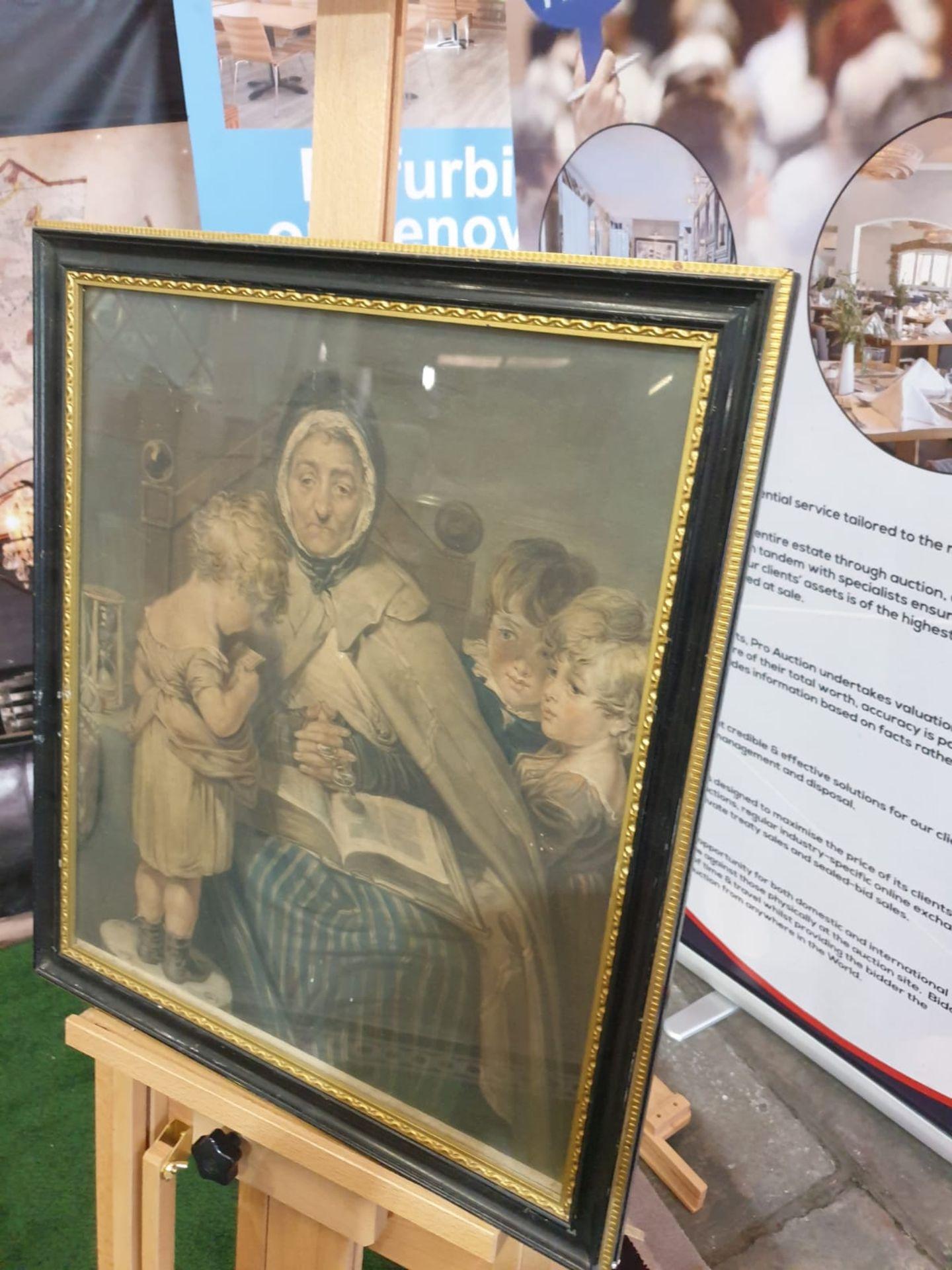 Framed vintage print Nanny with children. Black & Gold frame 52 x 59cm