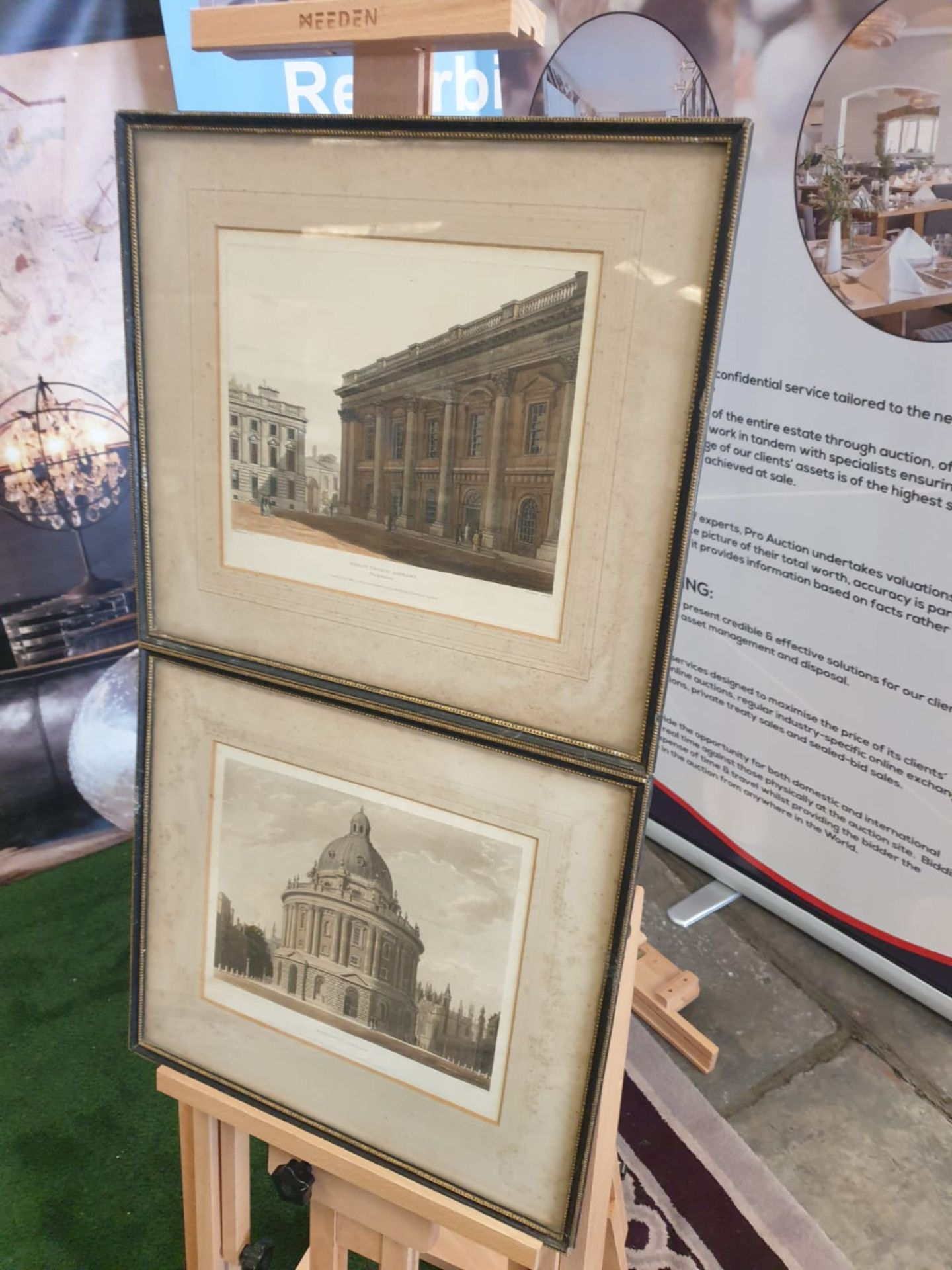 A set of 2 framed Coloured prints Radcliffe Library Oxford and Christchurch library Oxford F C Lewis - Image 2 of 5