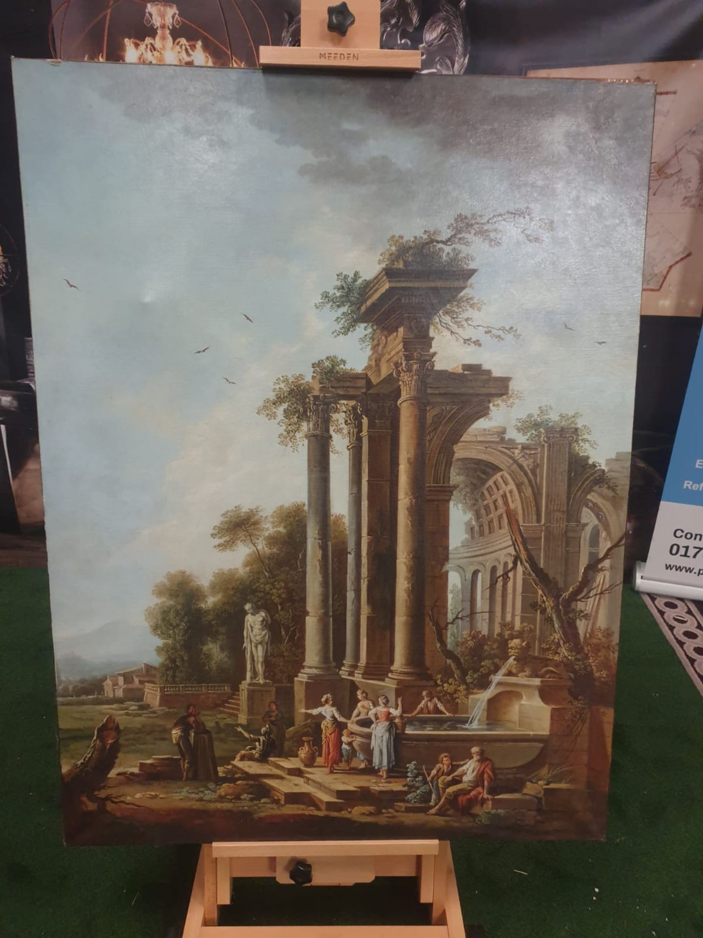 Unframed Canvas Follower of Hubert Robert capriccio with peasants in foreground 90 x 120cm