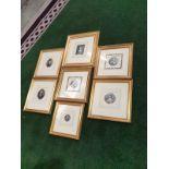 A set of 7 x framed portraits of Ladies & Gentlemen in period dress