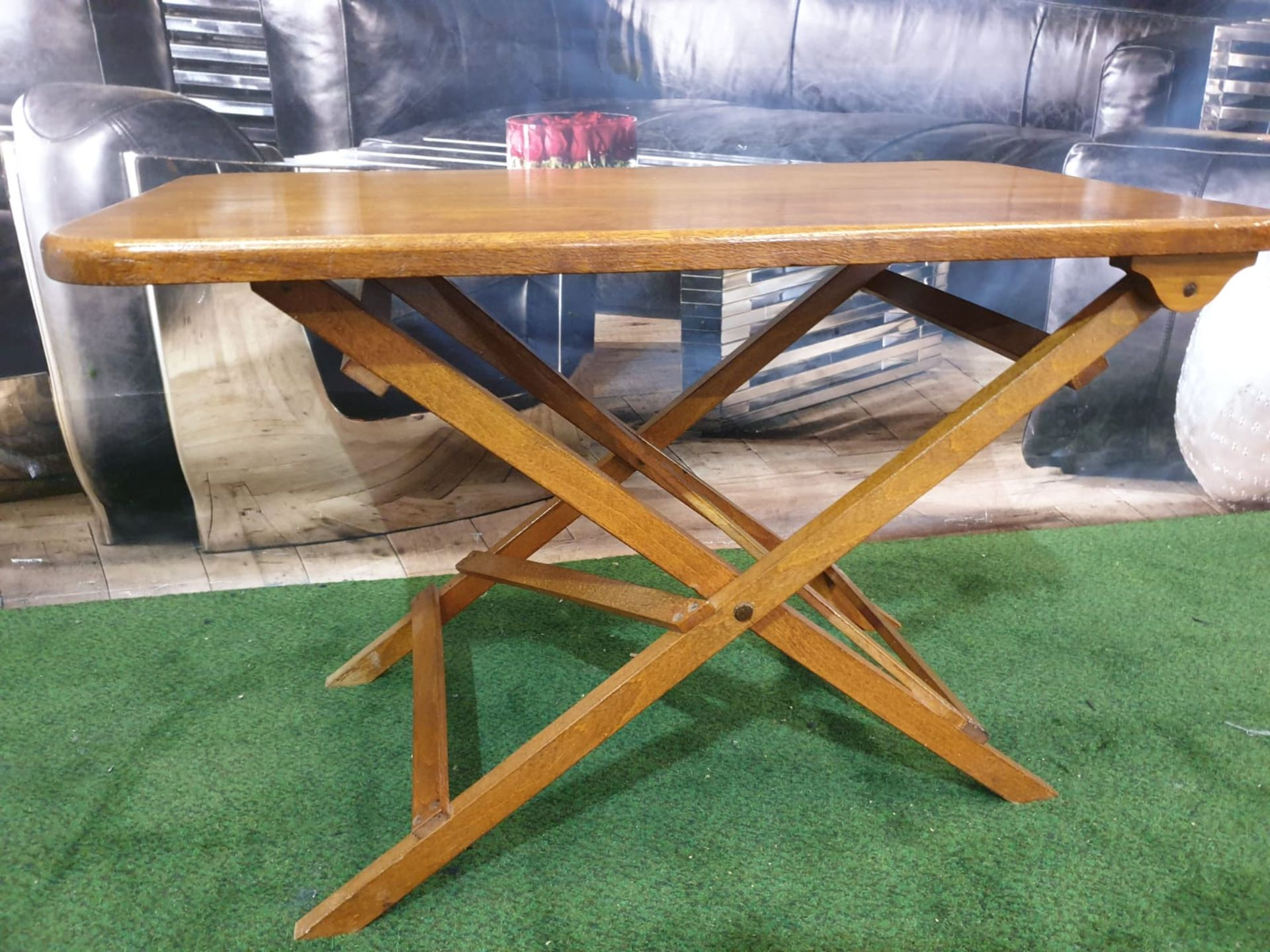 A polished teak folding table 71 x 40 x 4cm - Image 3 of 5
