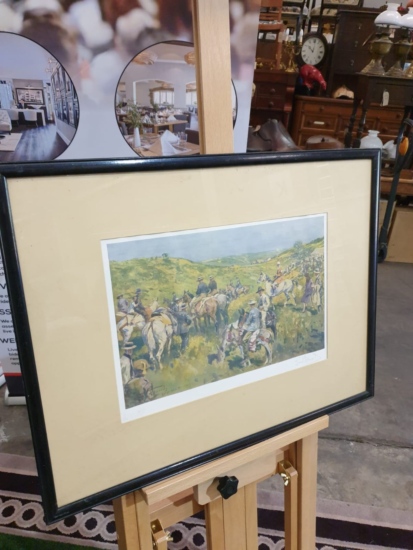 Framed signed print The Royal Calpe Hunt Point-to-Point Meeting - On the right Col. Price-Davis - Image 3 of 8