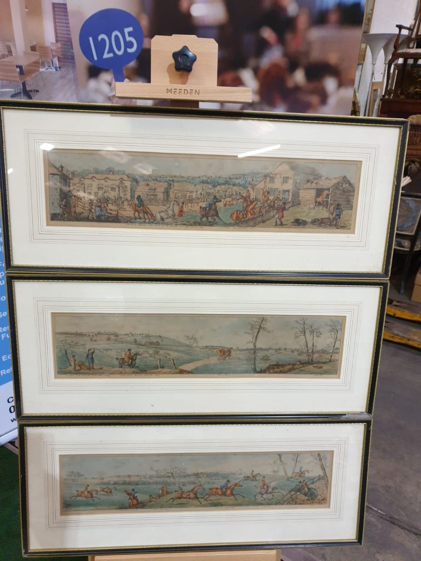 A set of 3 framed coloured panorama Hunters prints titled Stop at anything, Wo-e Wo-e and Some
