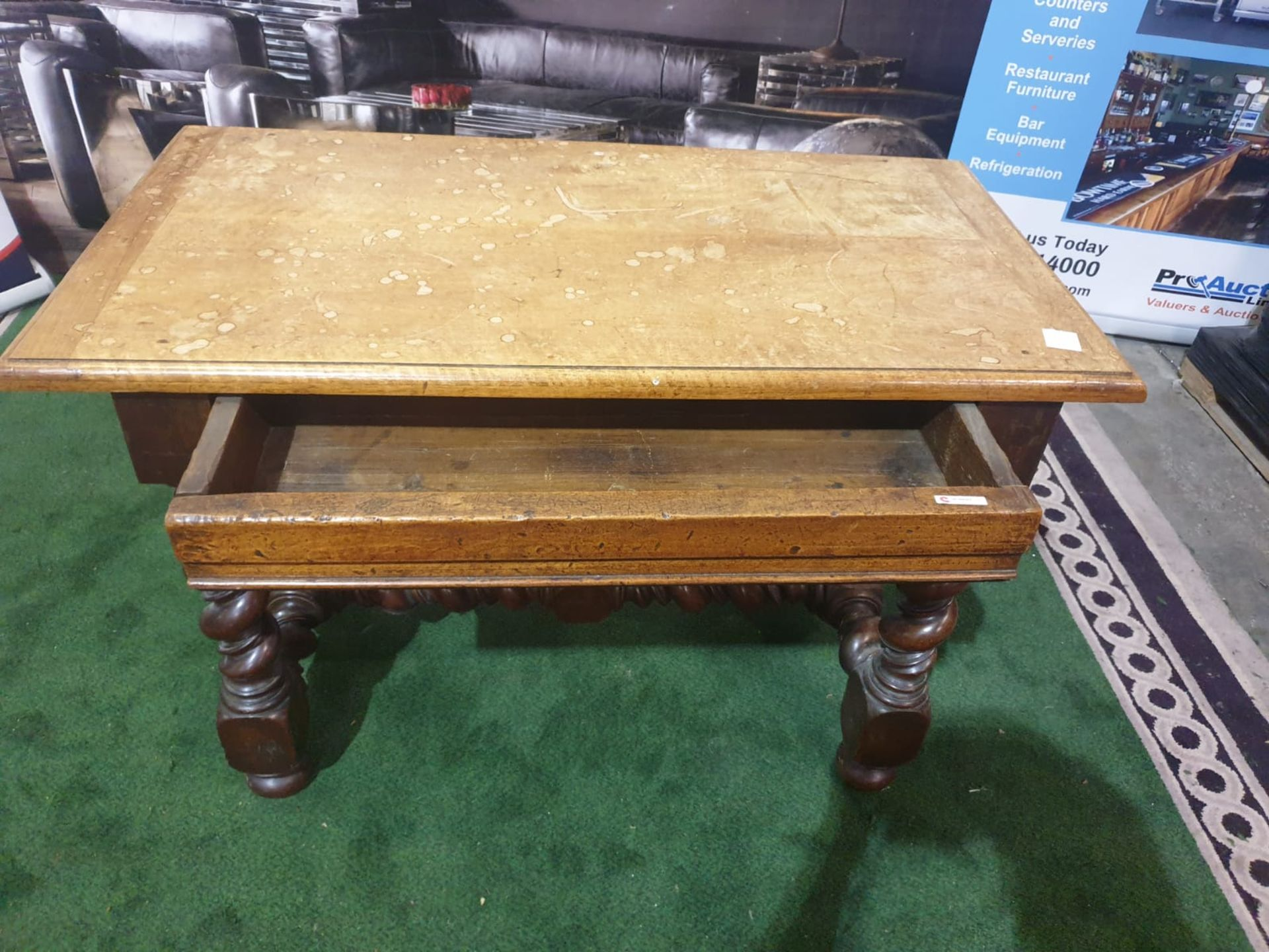 A Spanish 17th century style walnut side table. The faded cleated twin plank top above a drawer, - Image 4 of 4