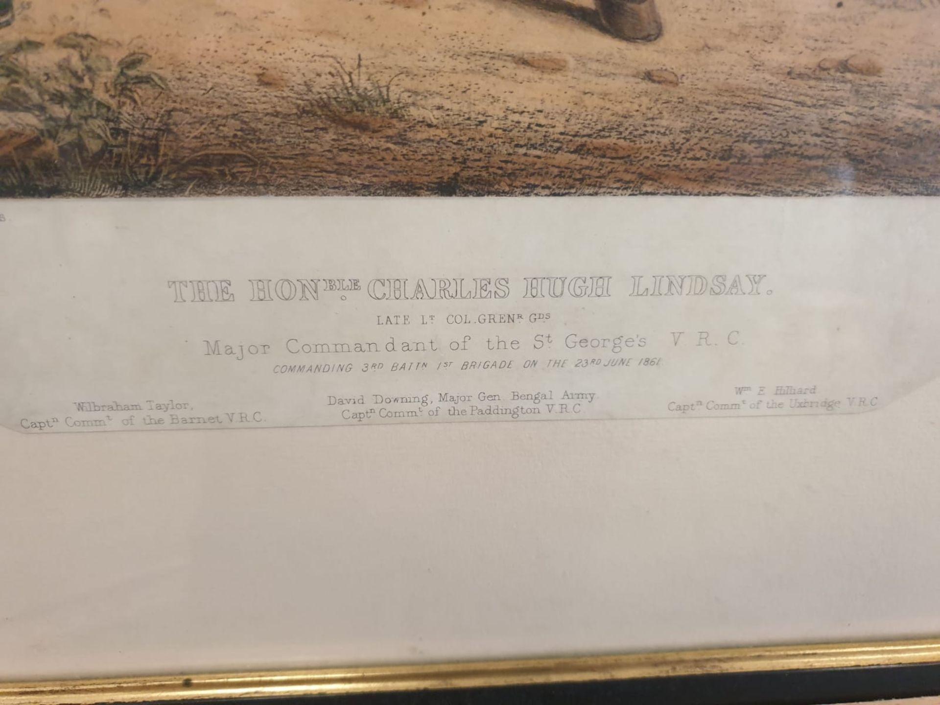 Framed Coloured Print Portrait Of The Honourable Charles Hugh Lindsay Major Commandant Of The St - Image 3 of 3