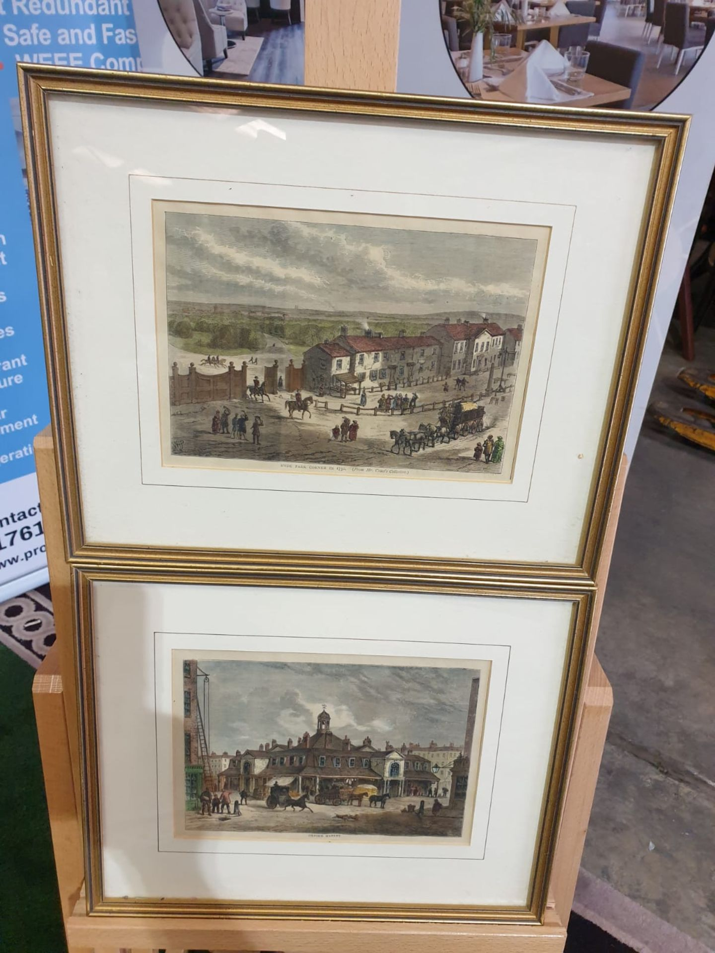 A set of 2 framed coloured lithographs APSLEY HOUSE AND PARK LANE. HYDE PARK CORNER IN 1750. - Image 3 of 5