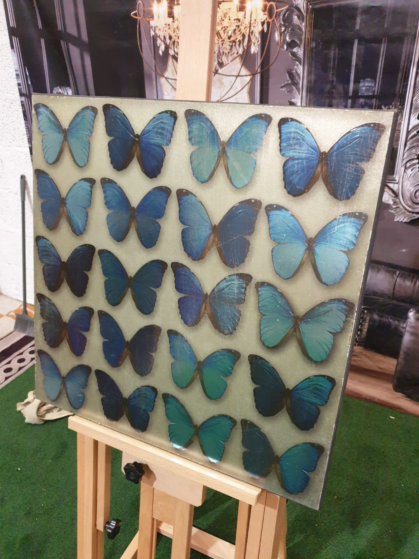 Panel of 20 teal Blue butterflies 57 x 57cm - Image 2 of 2