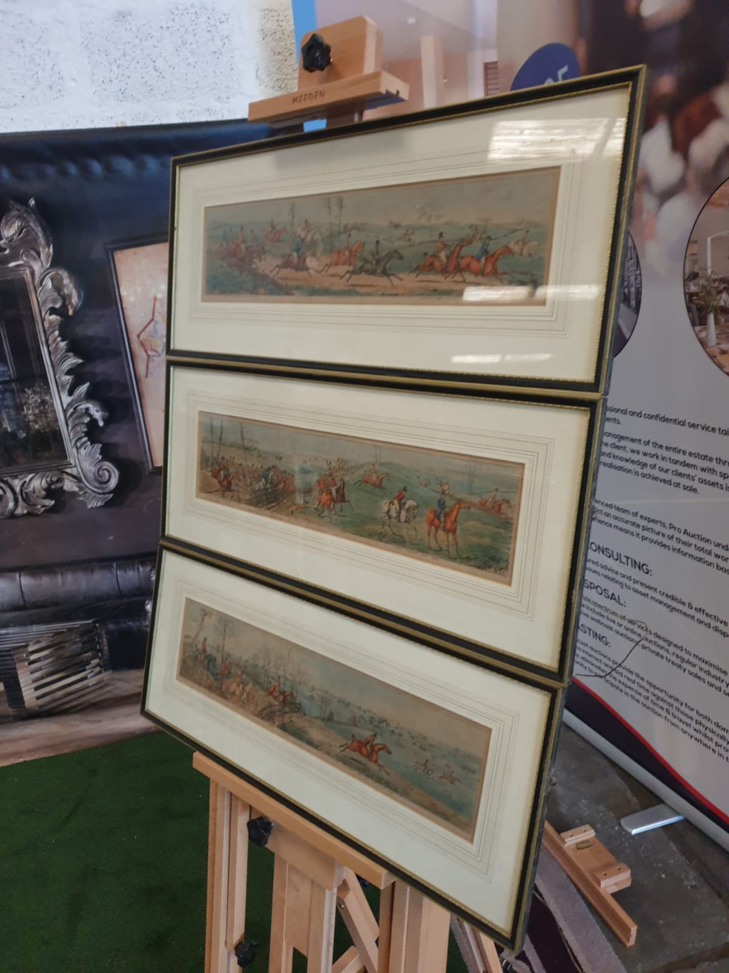 A set of 3 framed coloured panorma Hunters prints titled Lets take the road, Excersive polite, A - Image 3 of 6