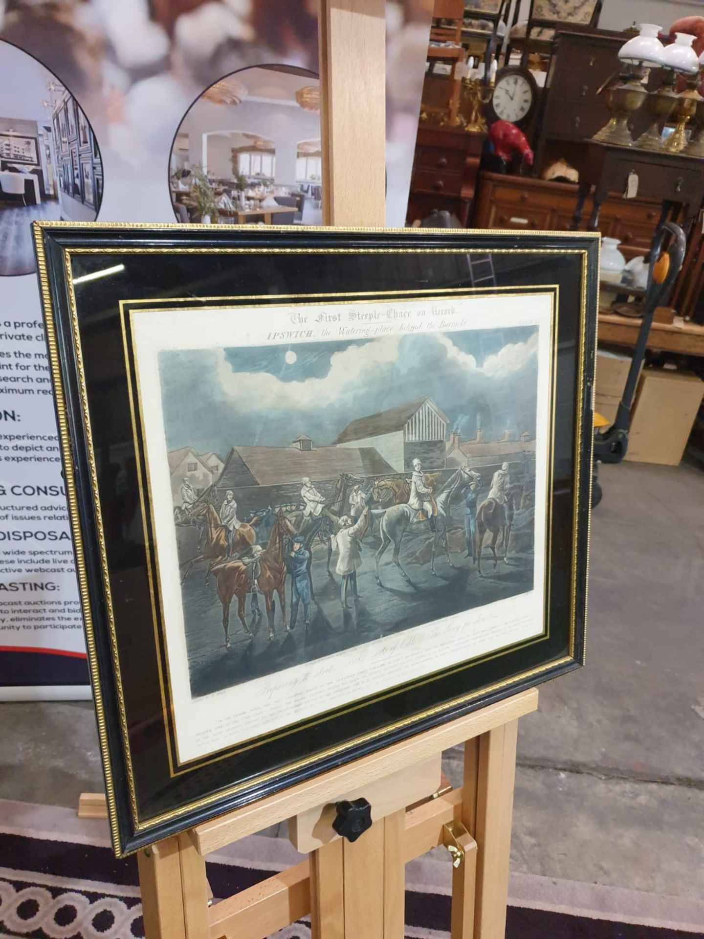 Framed vintage print .The First Steeplechase on Record - Ipswich, the watering place behind the - Image 3 of 6